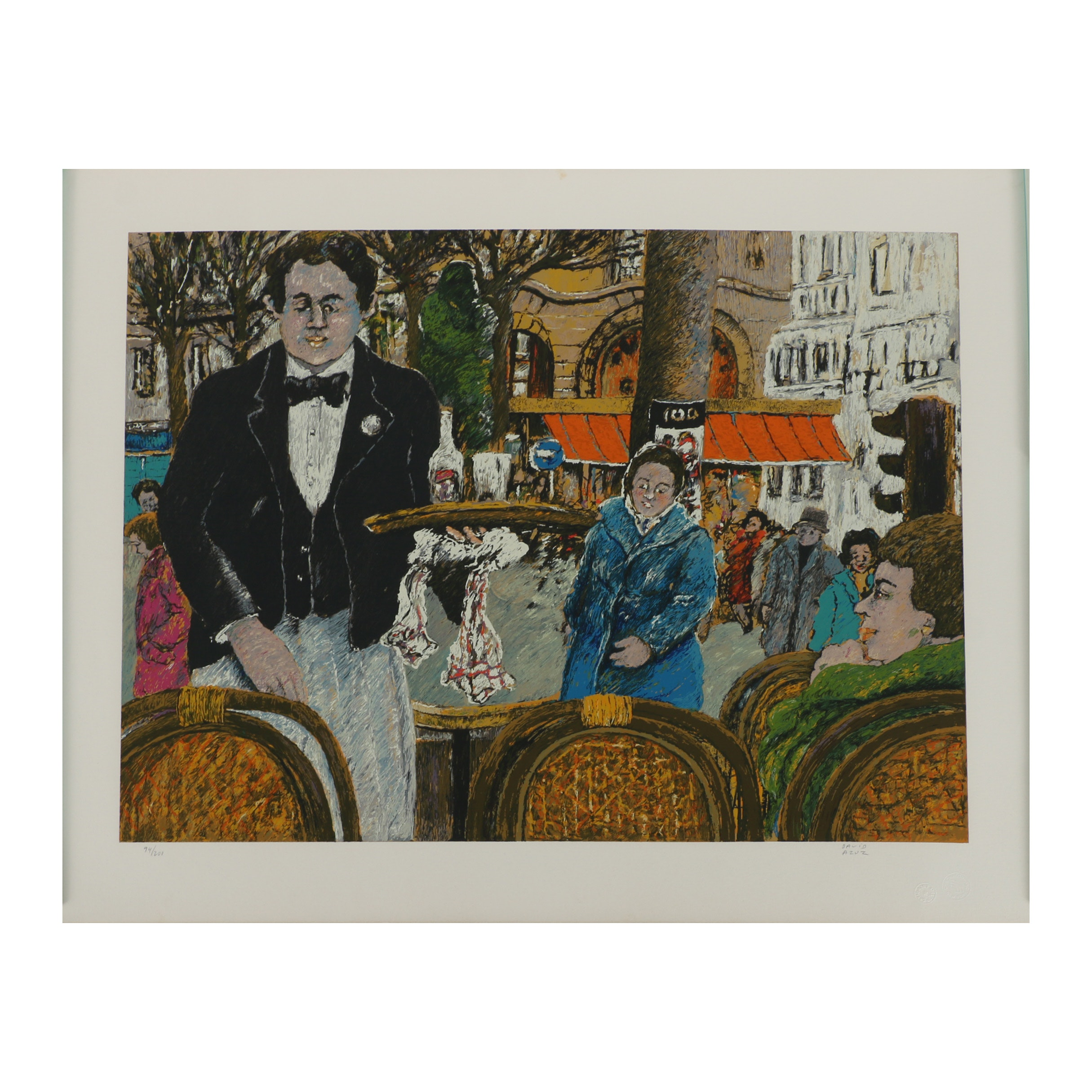 """David Azuz Serigraph """"Waiter Café Margolin"""""""