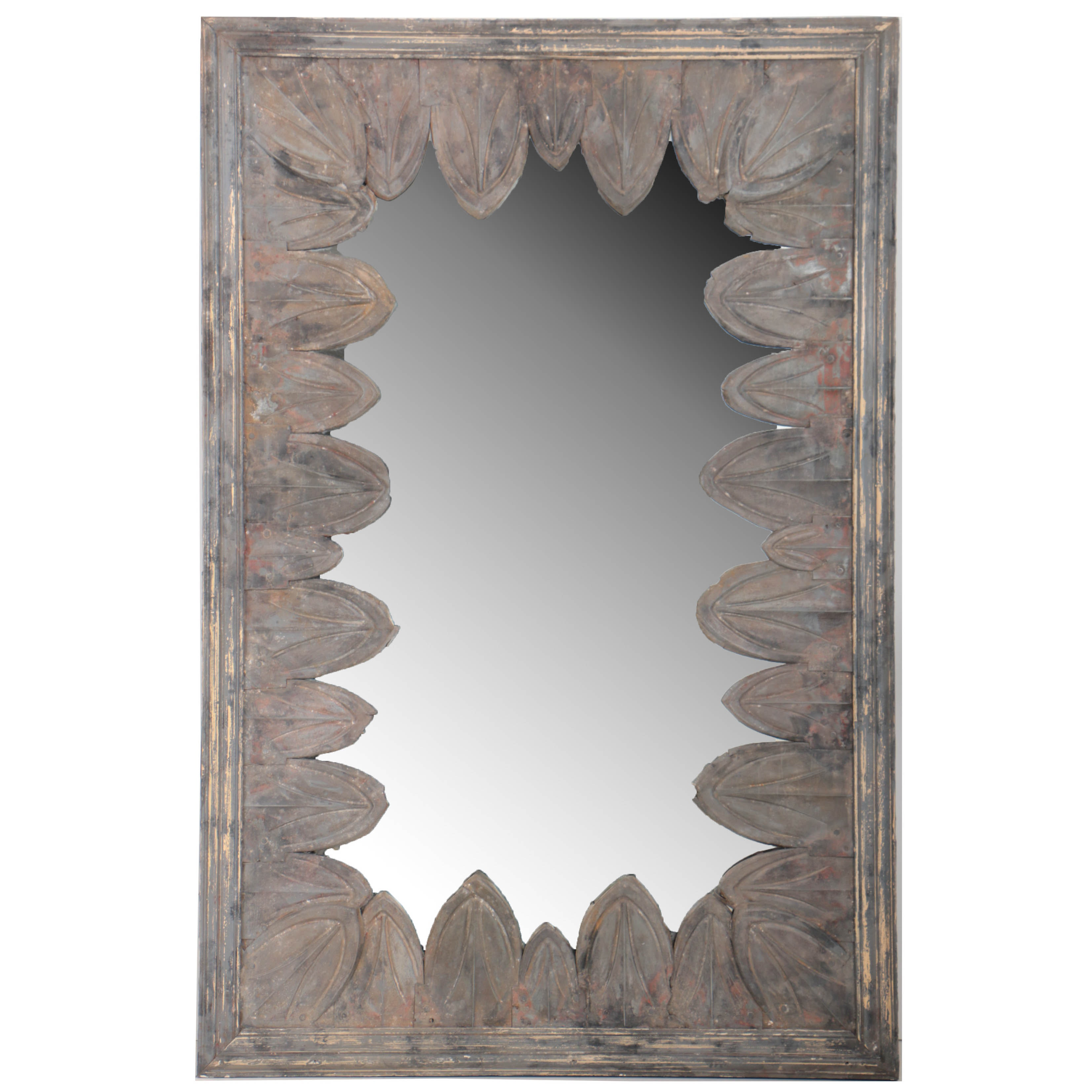 Monumental French Art Deco Mirror With Overlapping Zinc Petals