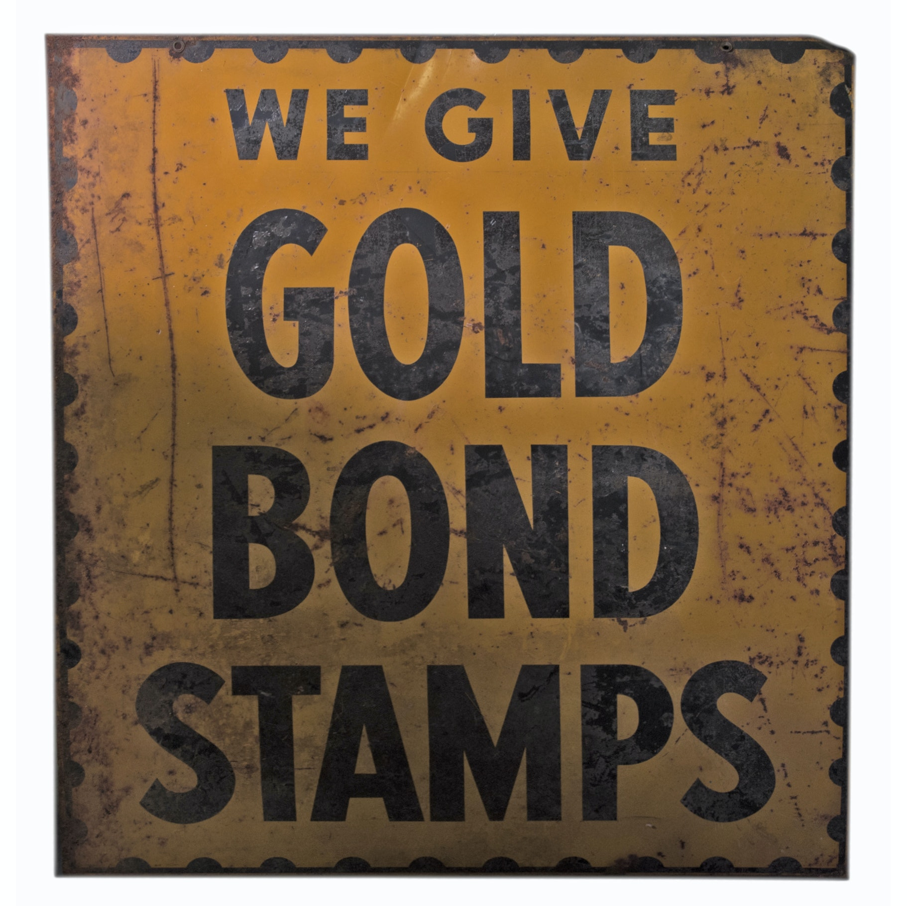 "Vintage Double Sided ""Gold Bond Stamps"" Advertising Sign"