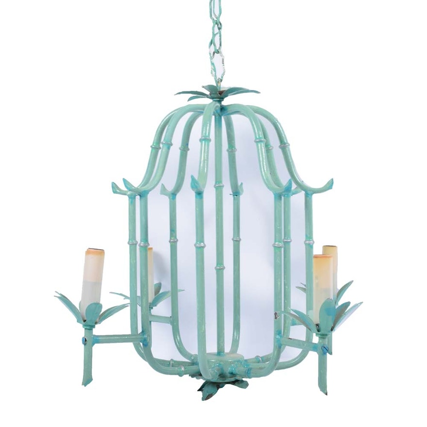 Vintage tole painted faux bamboo chandelier ebth vintage tole painted faux bamboo chandelier aloadofball Images