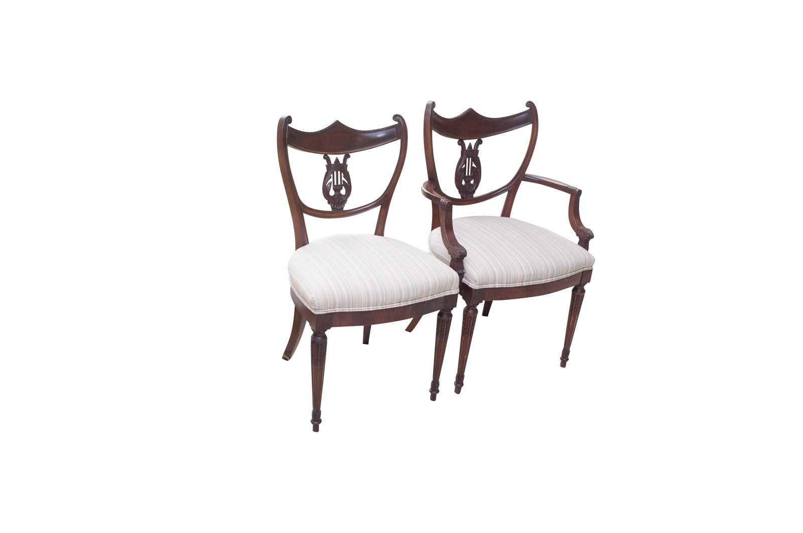 Vintage Mahogany Neoclassical Style Lyre Back Chairs
