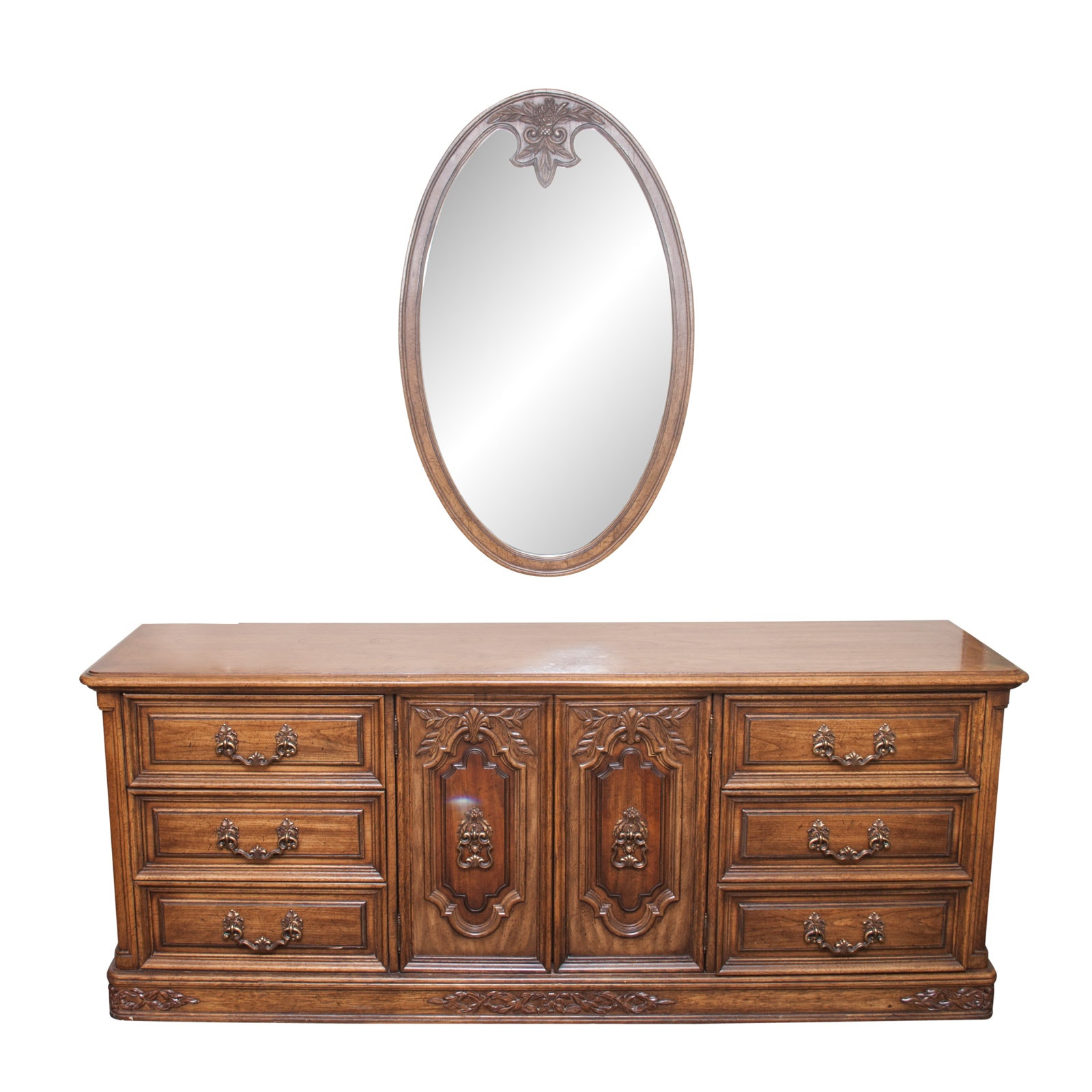 Vintage Louis XV Style Dresser and Mirror by American of Martinsville