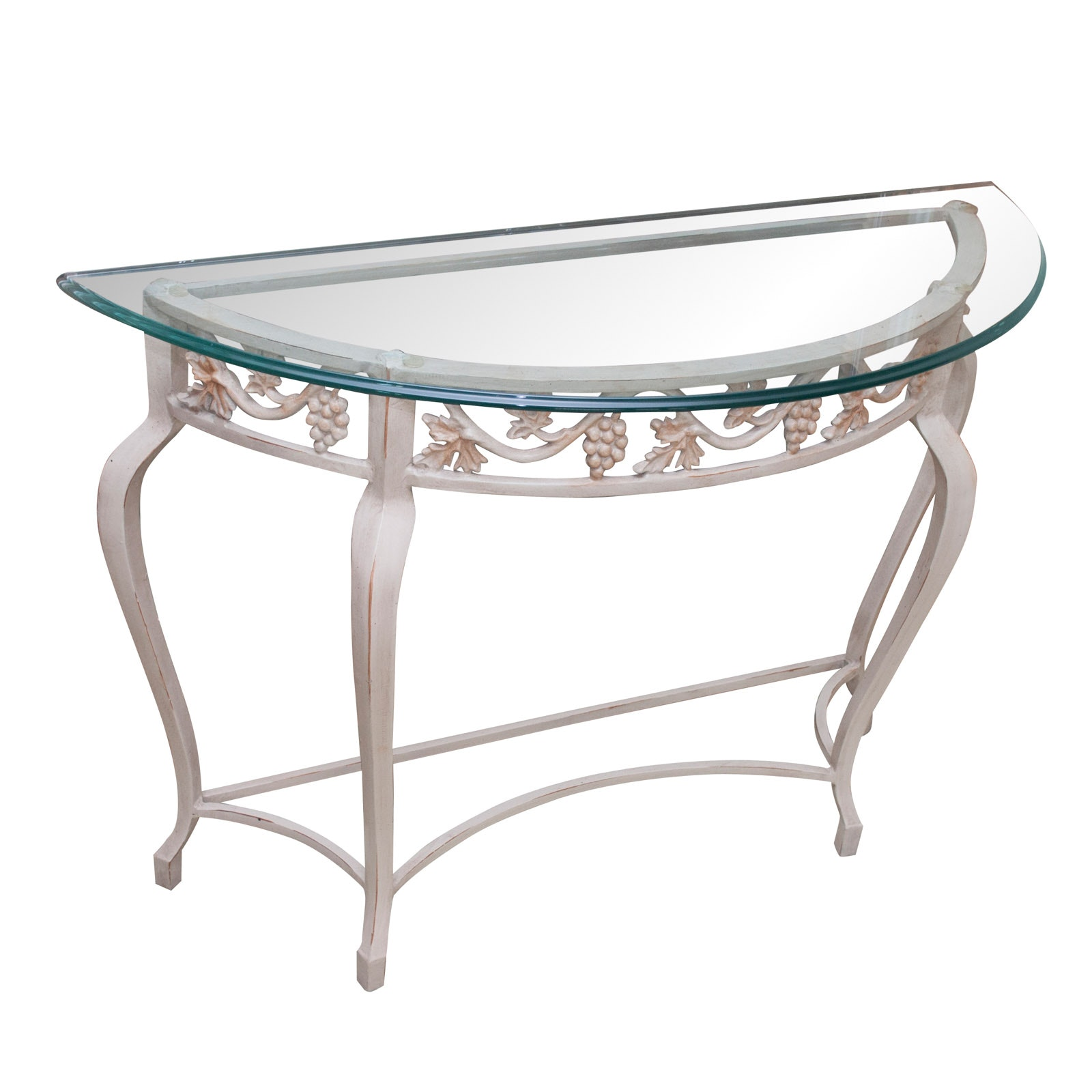 Metal Demilune Table with Glass Top