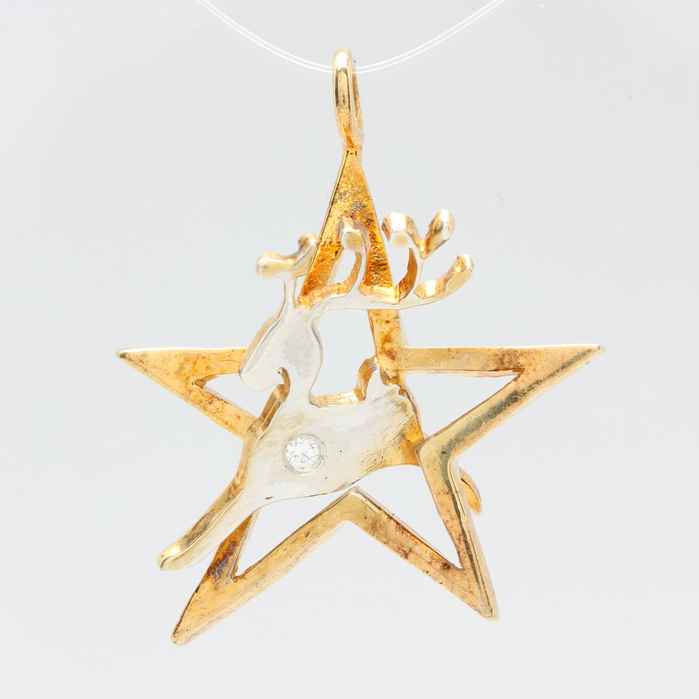 Gold Wash on Sterling Silver Diamond Star and Reindeer Pendant