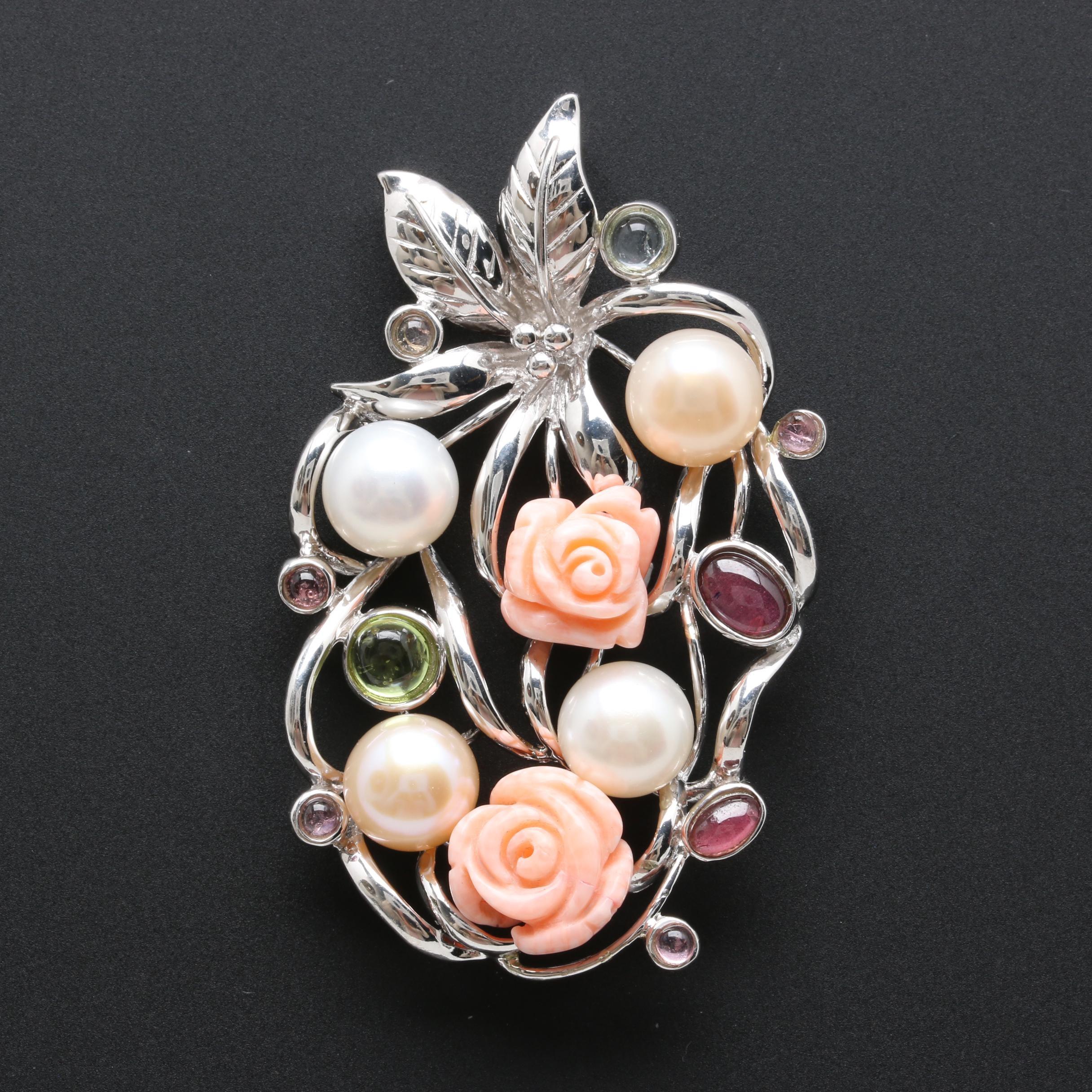 Sterling Silver Gemstone Floral Pendant