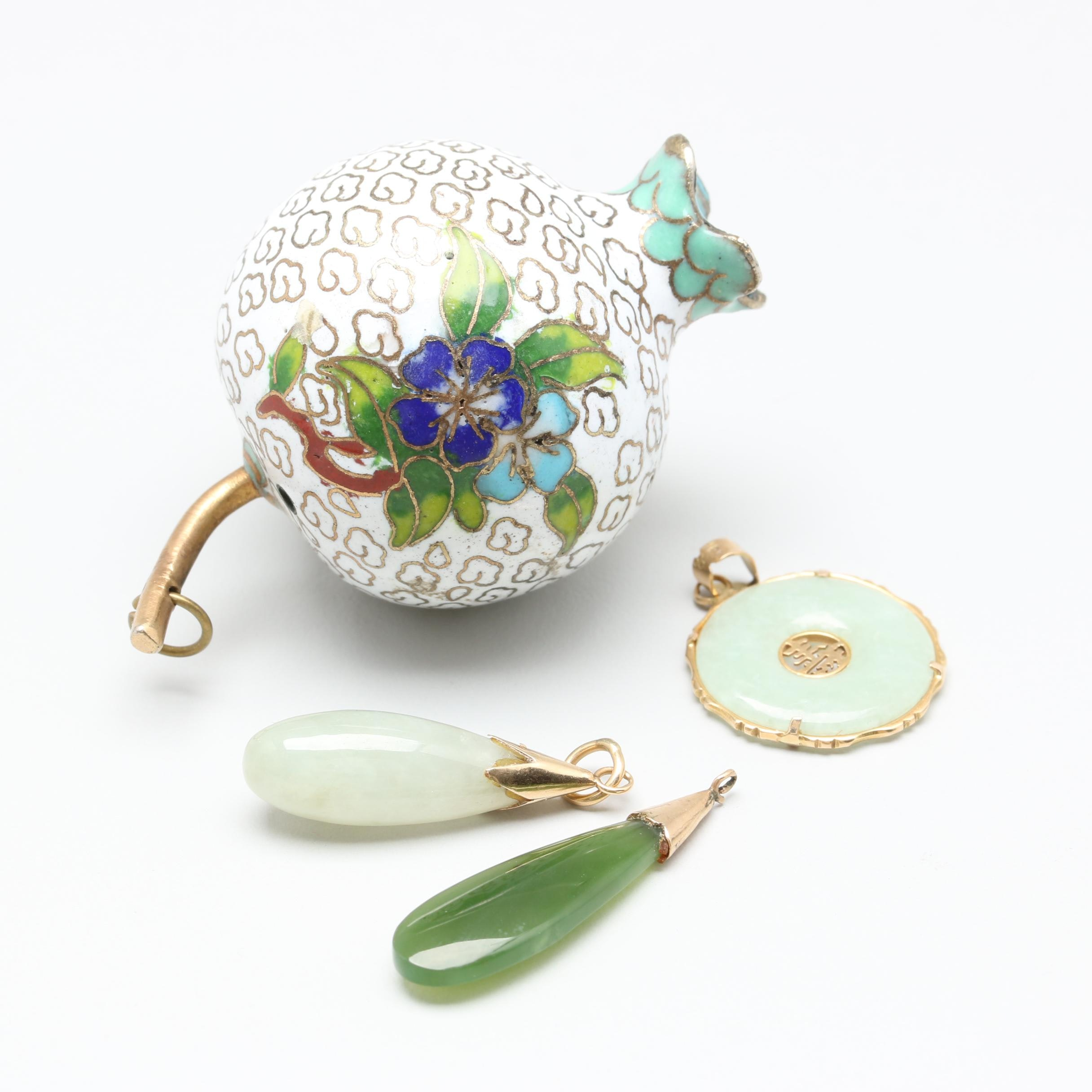 10K and 14K Yellow Gold and Gold Toned Nephrite, Jadeite and Enamel Pendants