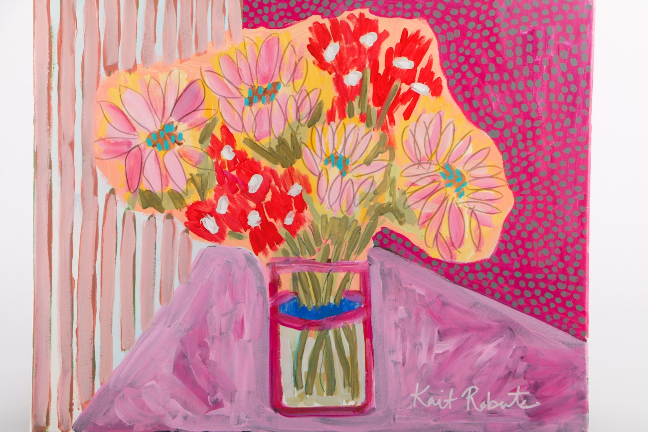 """Kait Roberts Acrylic Painting on Canvas """"Flowers for Vivian"""""""