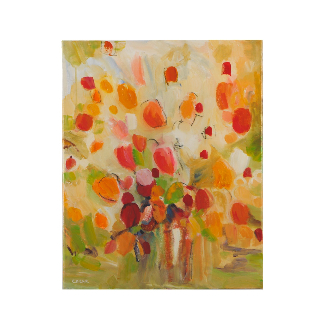 """CCLLC Mixed Media Painting on Canvas """"Bright + Cheerful"""""""