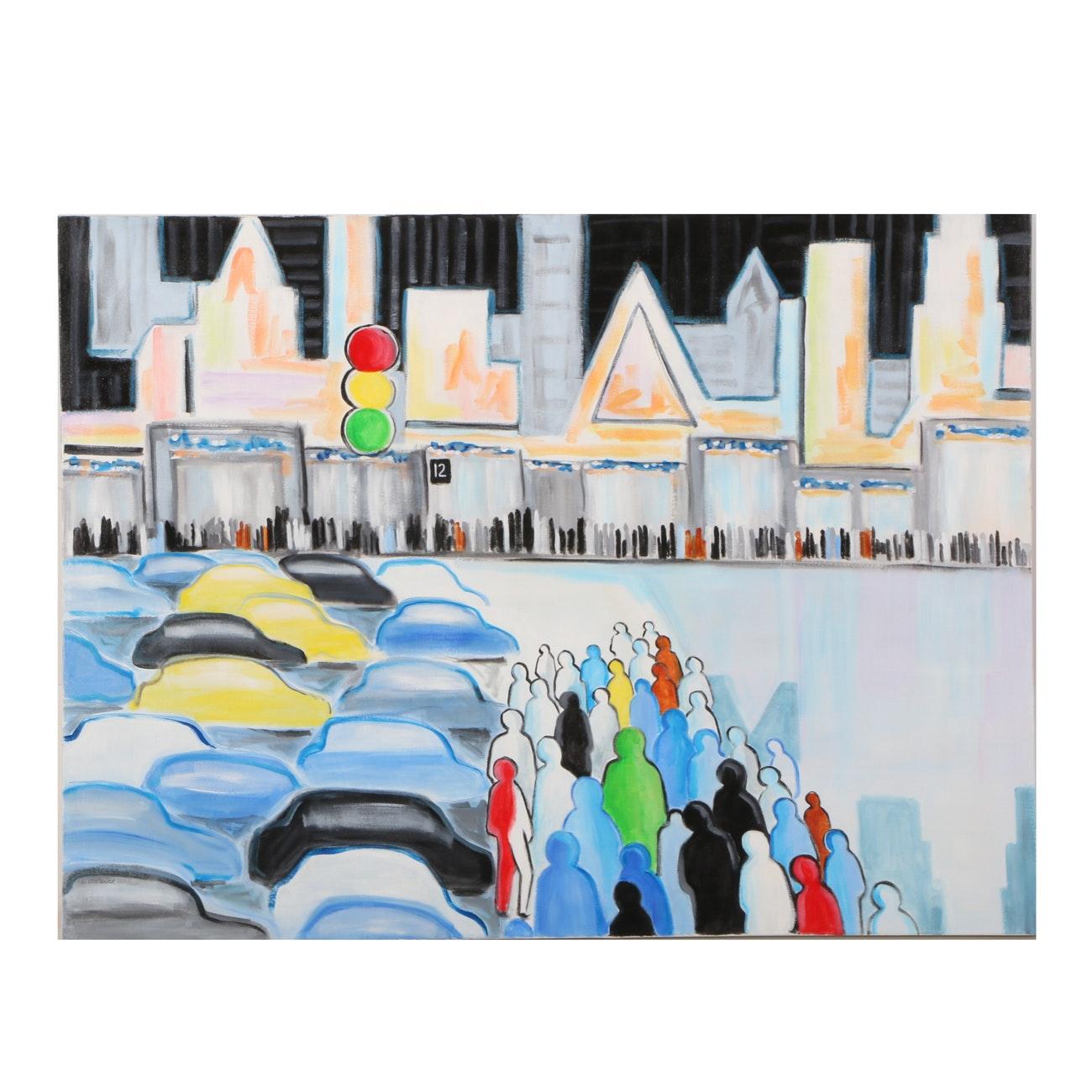 "Elizabeth O'Neill Acrylic Painting on Canvas ""Crossing"""