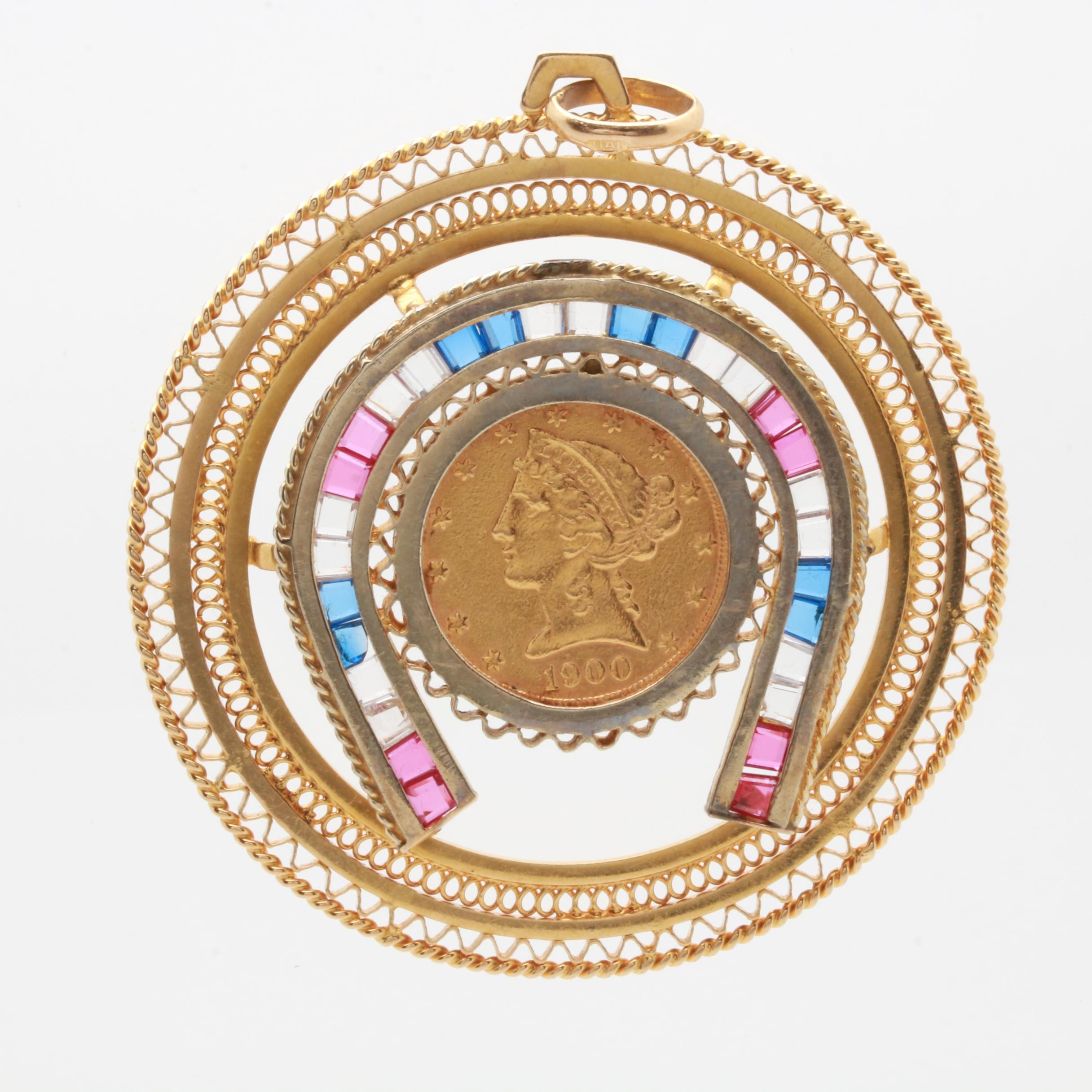 18K and 14K Gold Gemstone Pendant with 1900 $5 Liberty Head Gold Coin