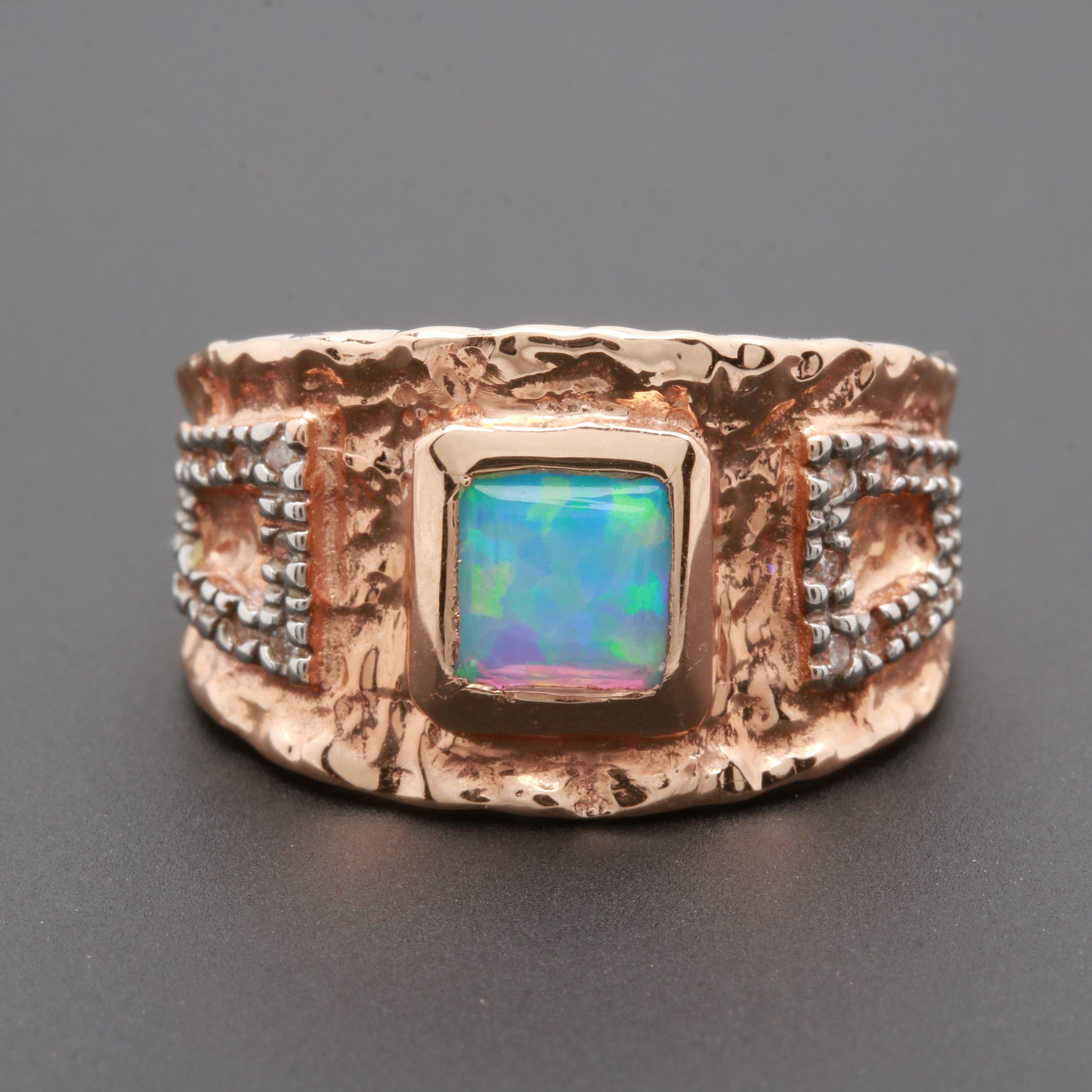 14K Rose Gold Synthetic Opal and Diamond Ring