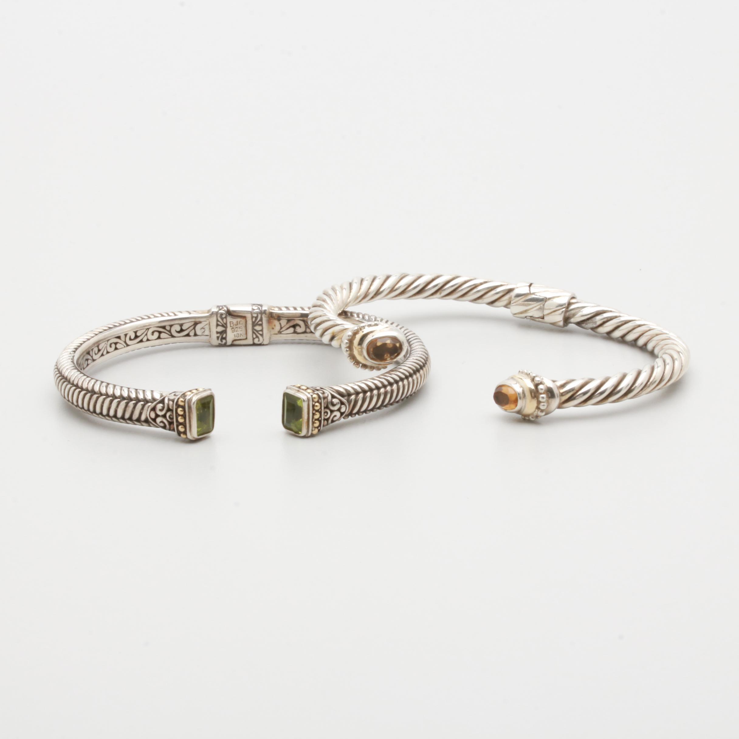 Samuel Benham Sterling Silver and 18K Gold Gemstone Hinged Cuff Bracelets