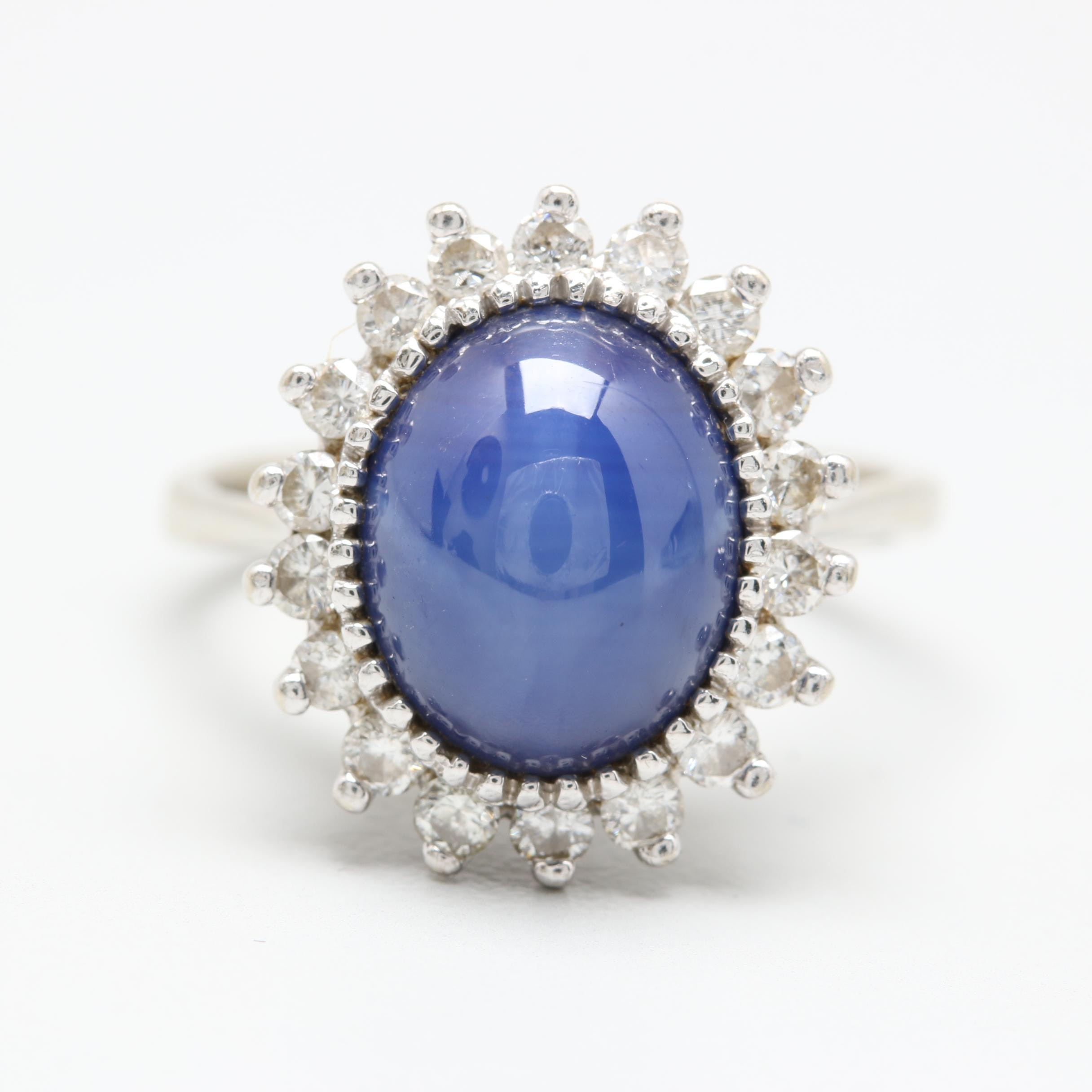 14K White Gold Synthetic Star Sapphire and Diamond Ring