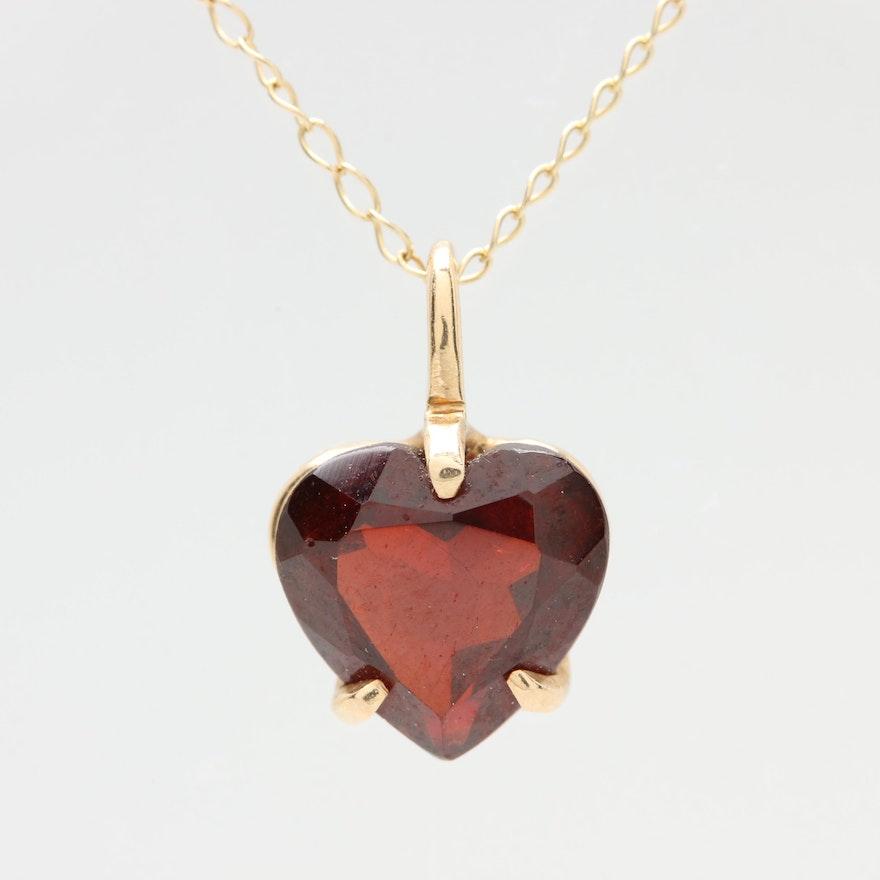 14k yellow gold garnet heart pendant and 10k alwand vahan necklace aloadofball Gallery