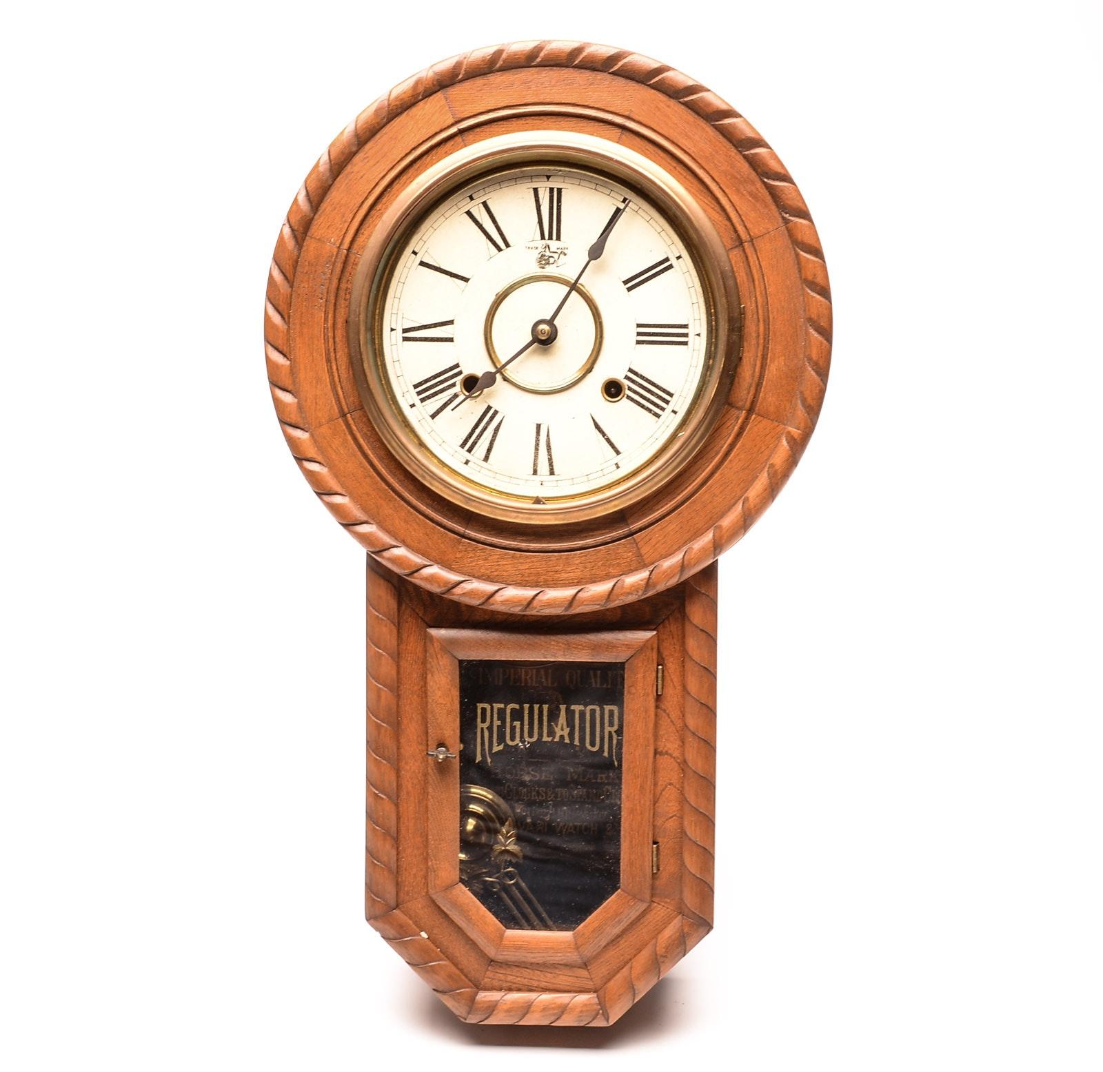 Vintage Japanese Regulator Wall Clock by the Owari Clock Co.