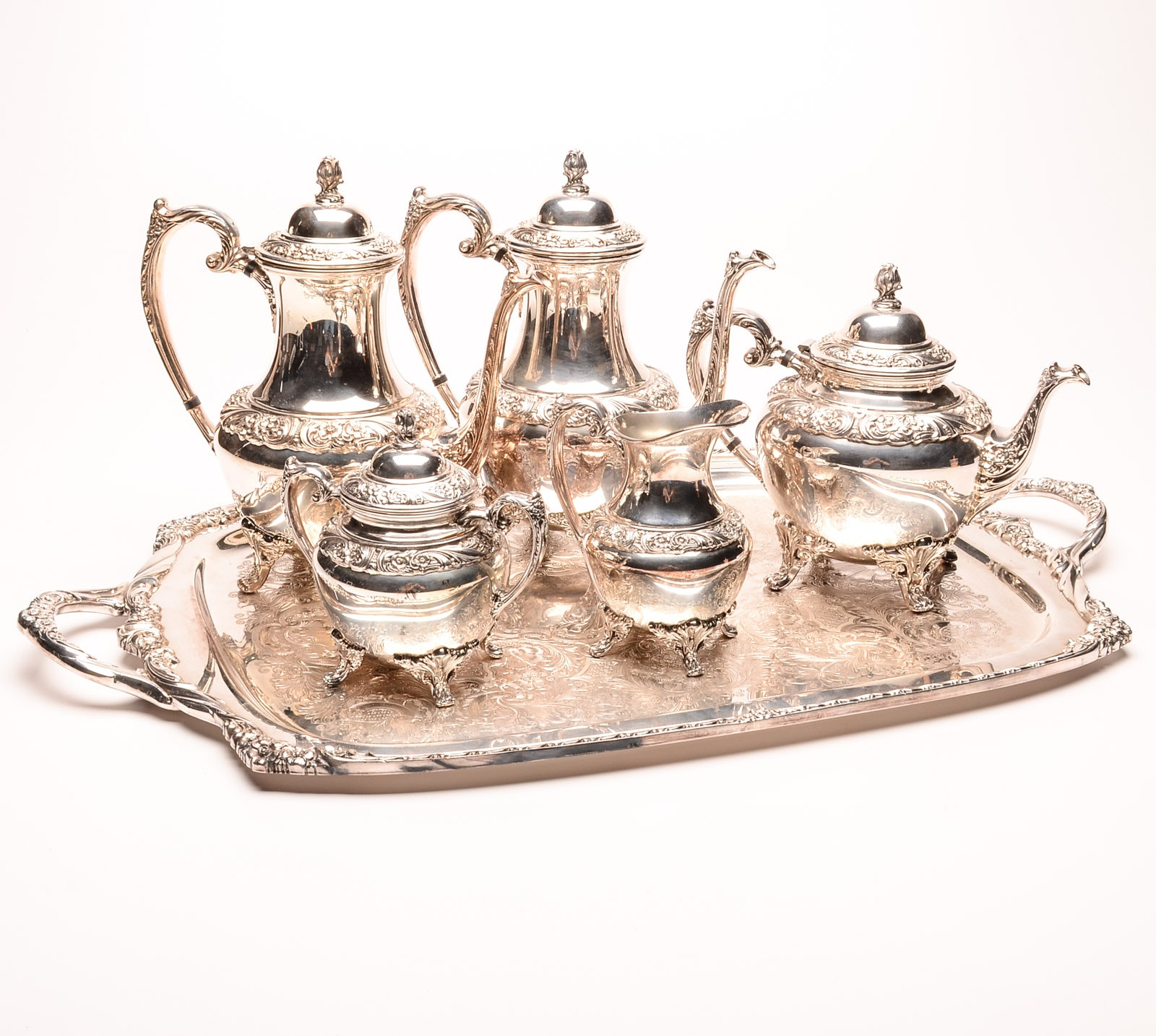 "Rogers Brothers ""Heritage"" Silver Plate Coffee and Tea Service"