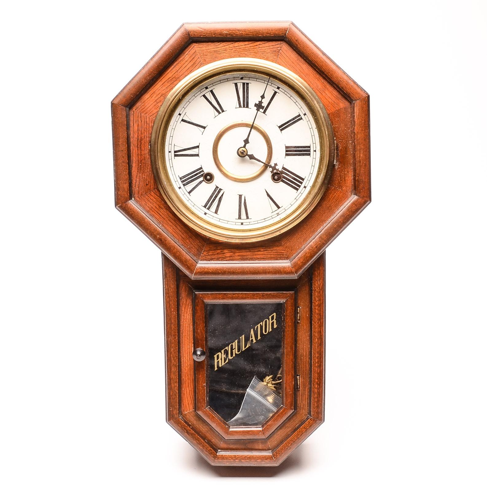 Early 20th Century Aichiken Japanese Regulator Wall Clock