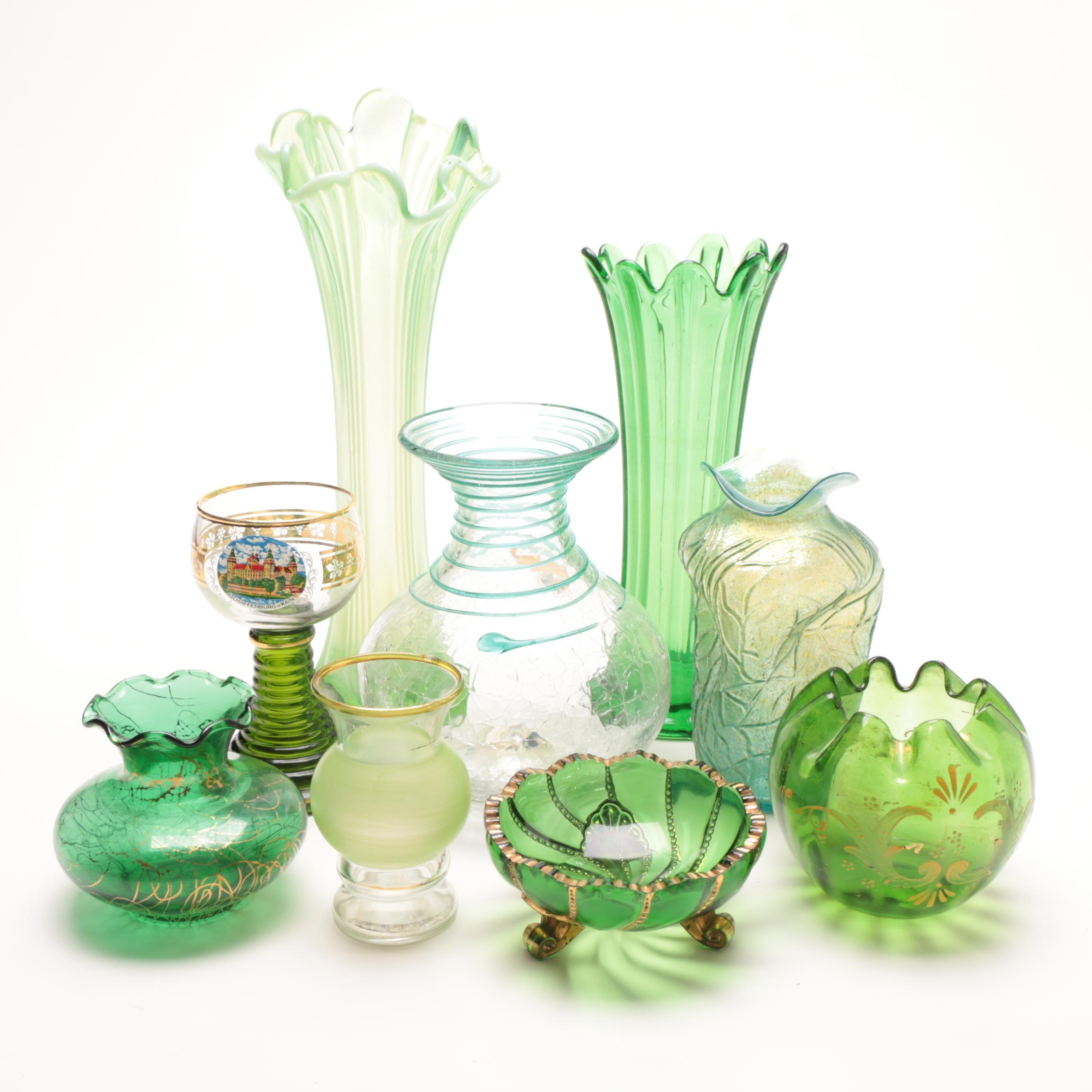 Vintage Assorted Green Decorative Vases Featuring Art Glass by Blenko