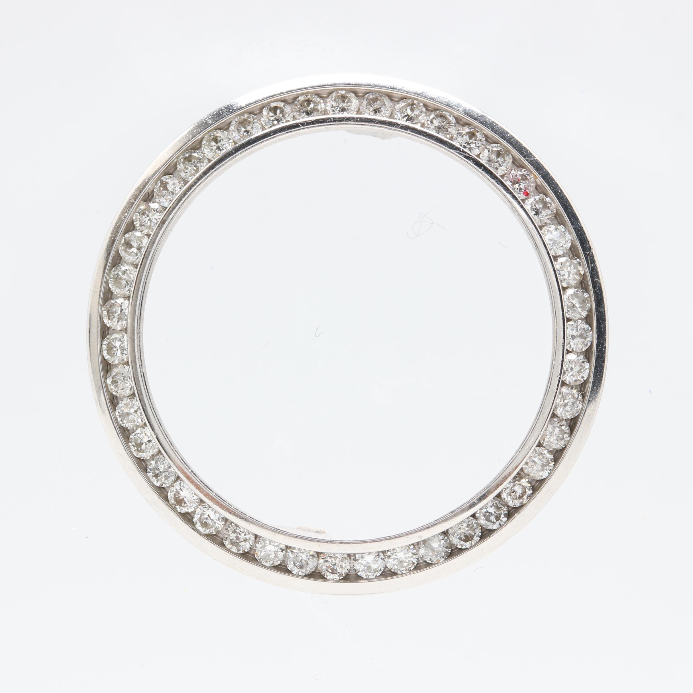 14K White Gold Diamond Aftermarket Watch Case Bezel