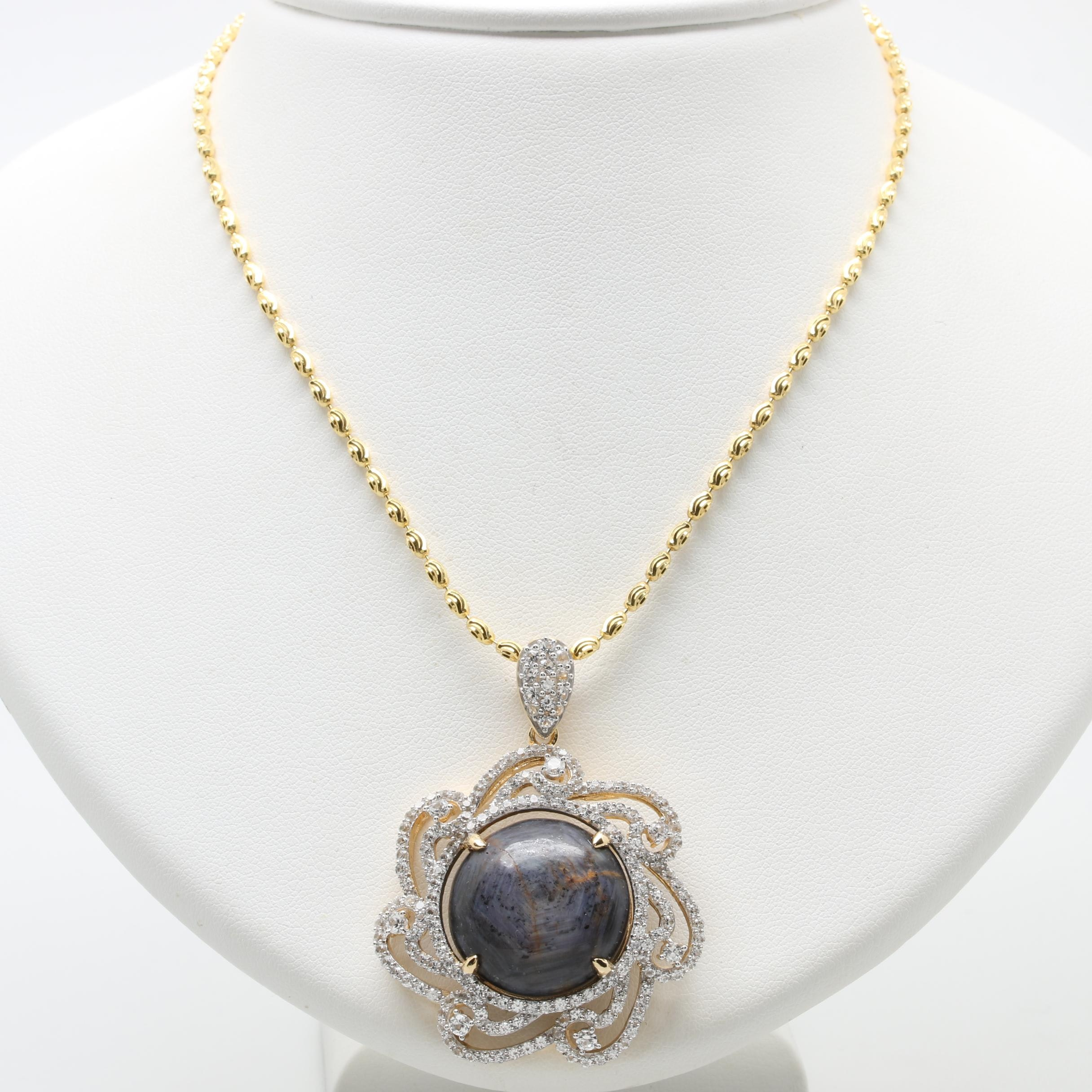 Gold Wash on Sterling Silver Corundum and White Sapphire Pendant Necklace