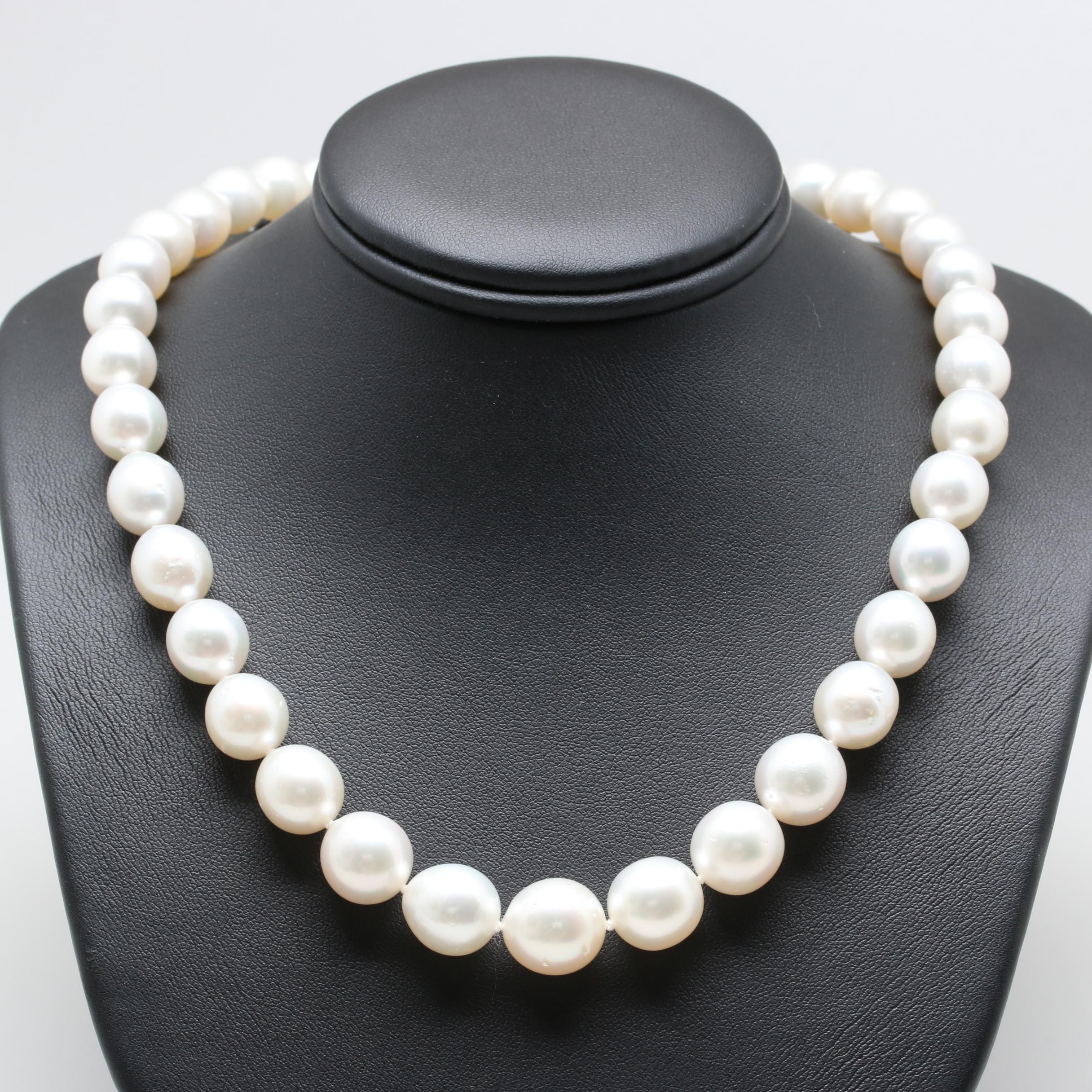 14K White Gold Cultured Pearl Graduated Single Strand Necklace