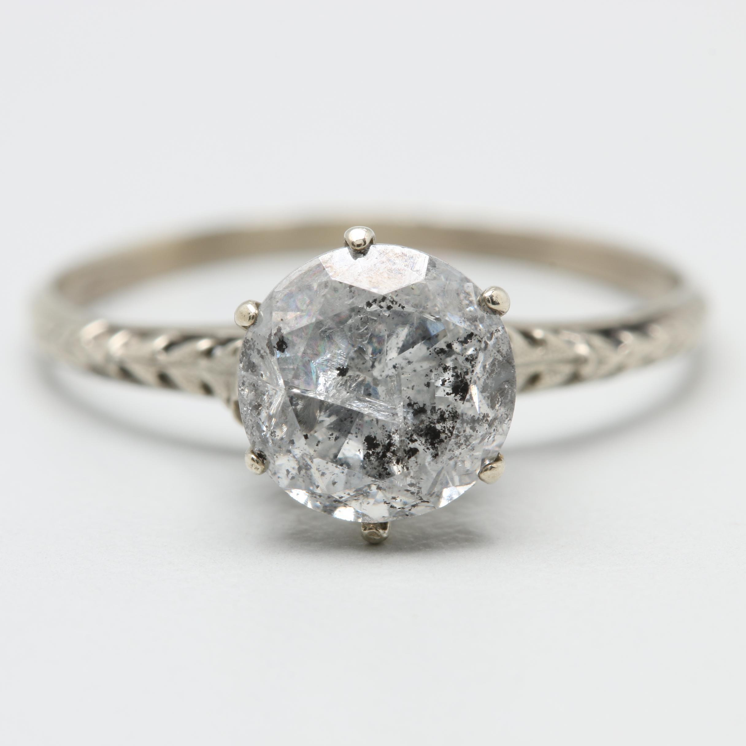 Edwardian 10K White Gold 1.34 CTW Diamond Ring