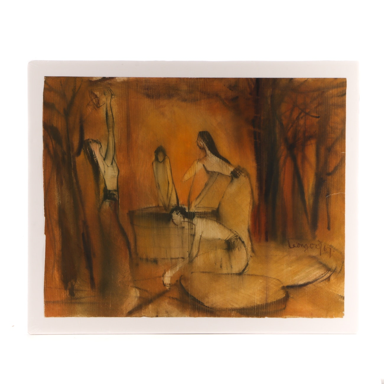 Watercolor Painting of Women in Clearing