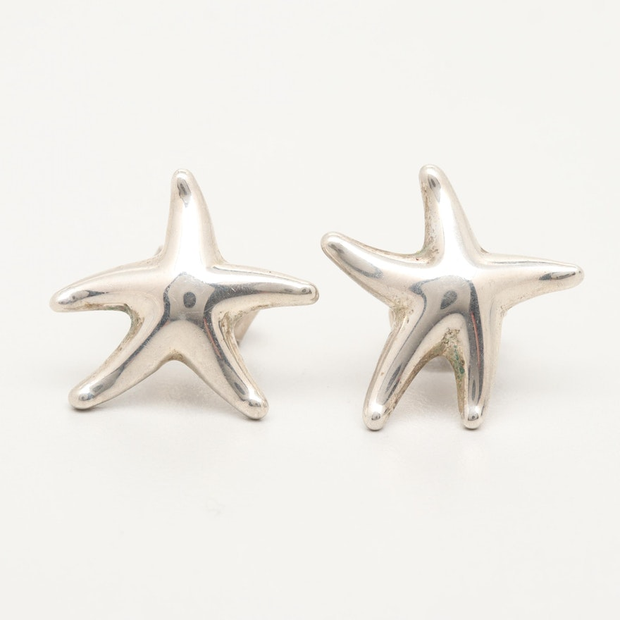 Elsa Peretti For Tiffany Co Starfish Sterling Silver Stud Earrings Ebth