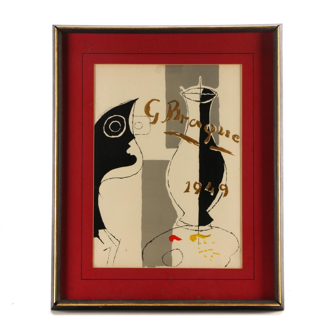 """Georges Braque 1949 Color Lithograph Frontispiece """"Une aventure méthodique"""""""
