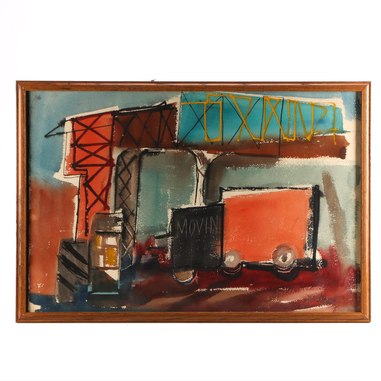 B.S. Carter Watercolor Painting of Abstract Urban Scene