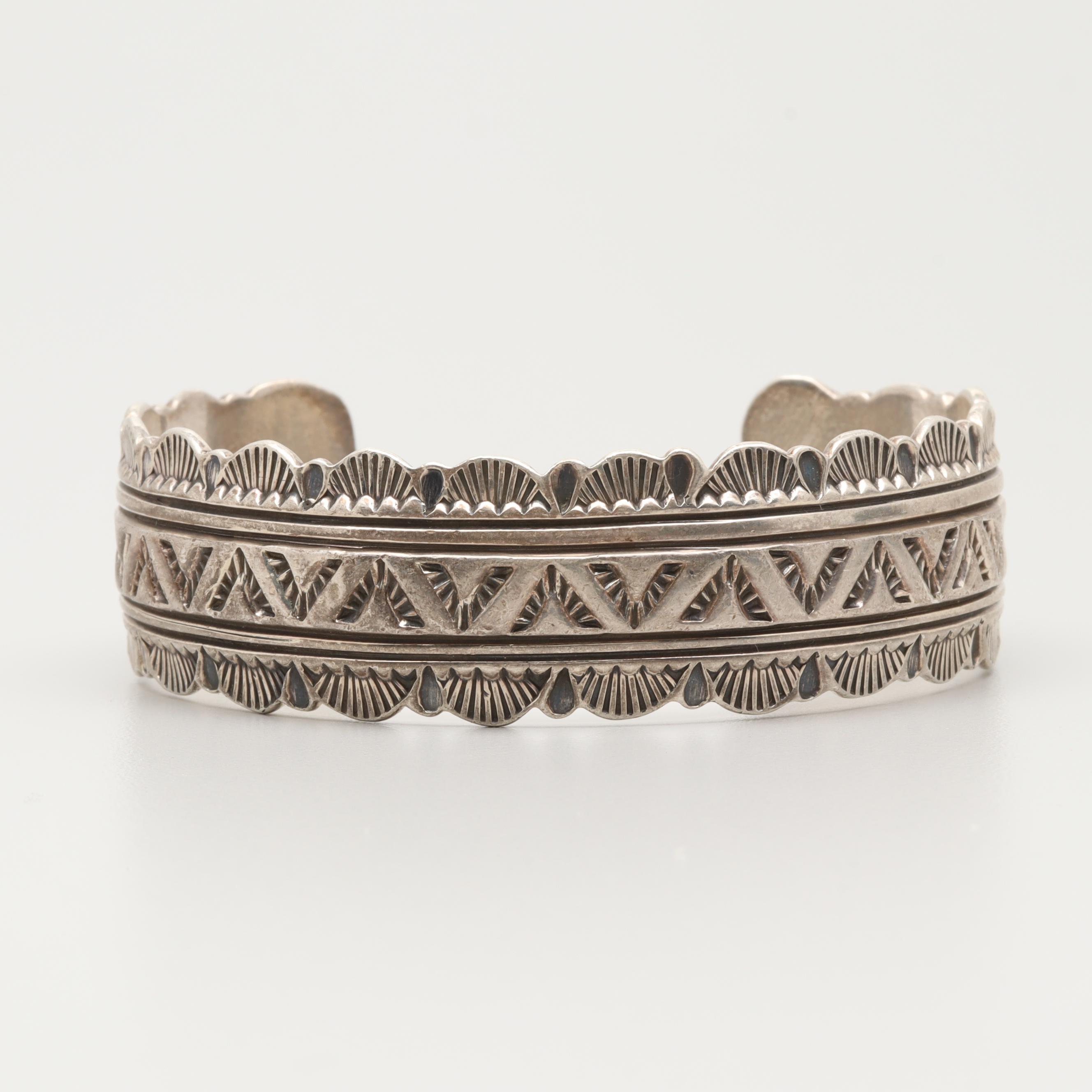 Victor Hicks Navajo Diné Sterling Silver Cuff Bracelet
