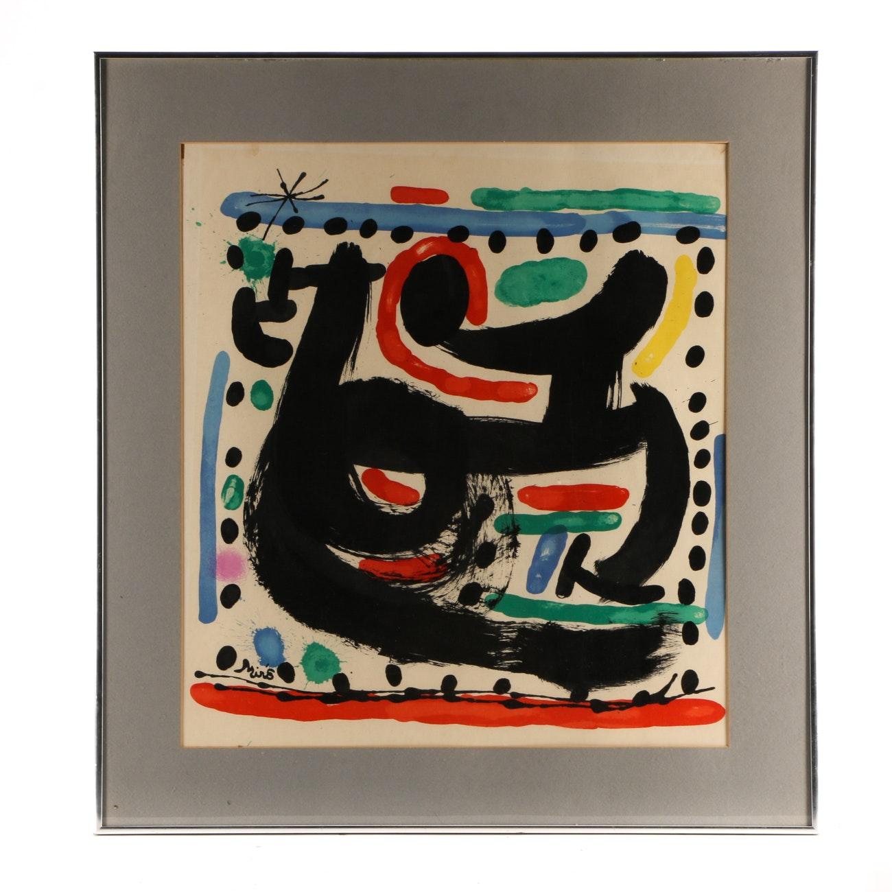 "Joan Miró 1967 Color Lithograph on Paper for ""Atelier Mourlot"""