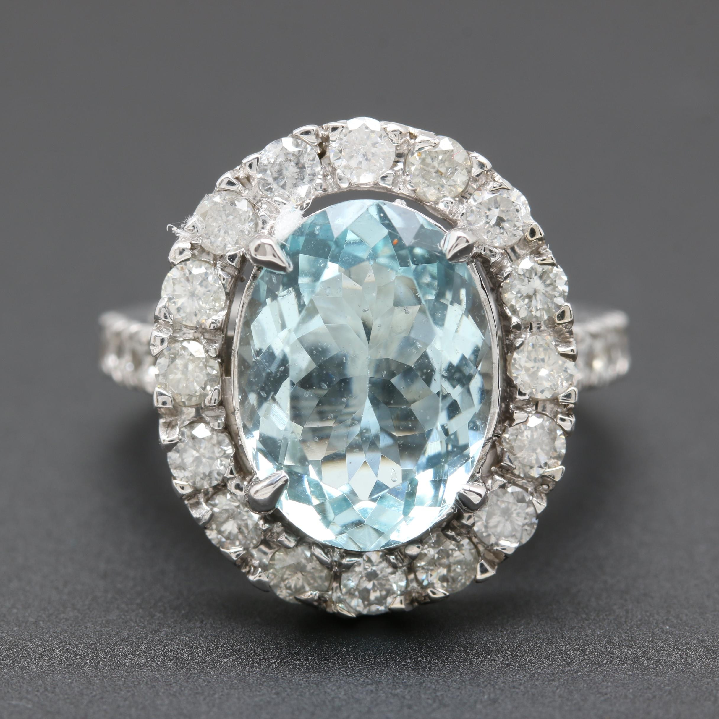 14K White Gold 4.77 CT Aquamarine and 1.56 CTW Diamond Ring
