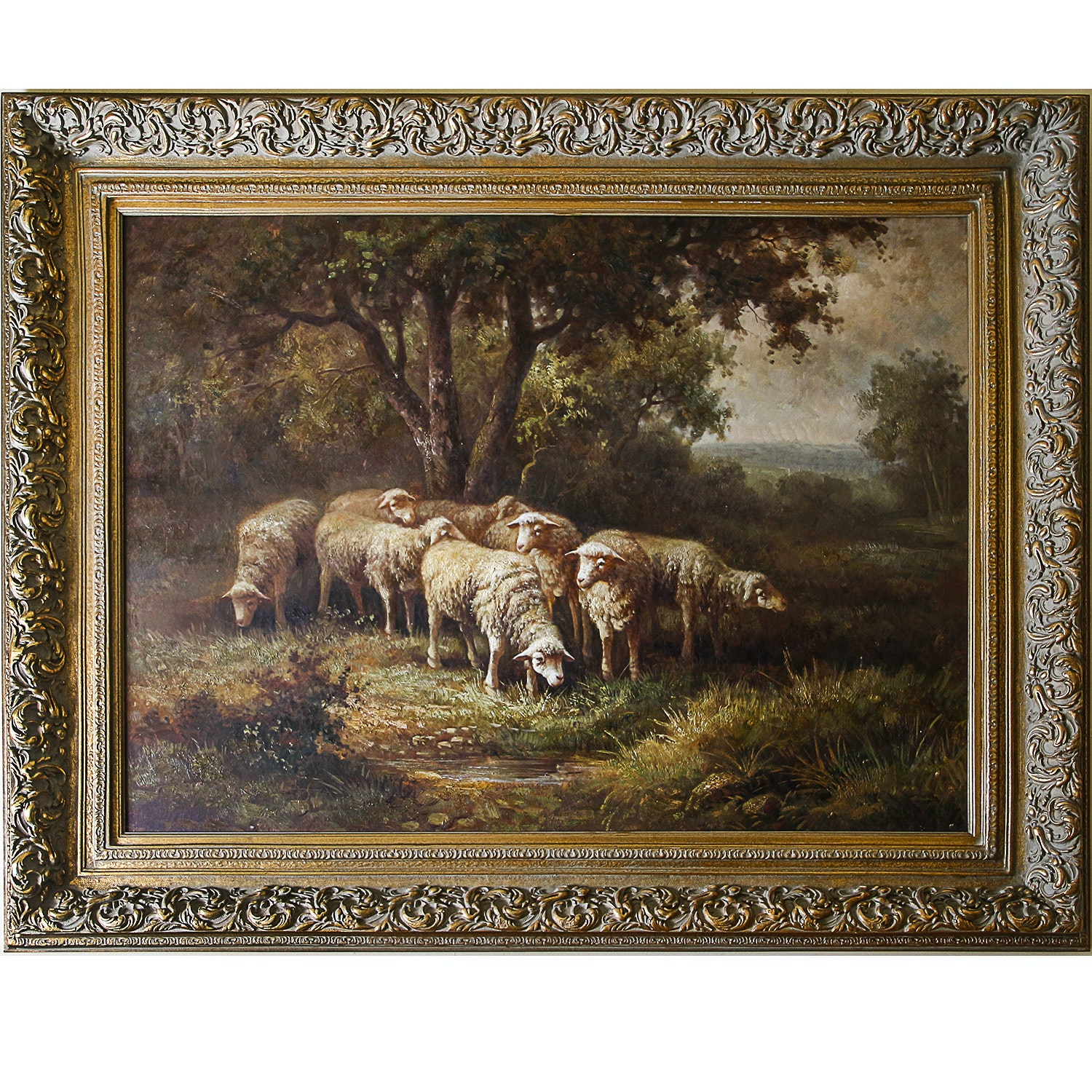 Oil Painting of Sheep Grazing