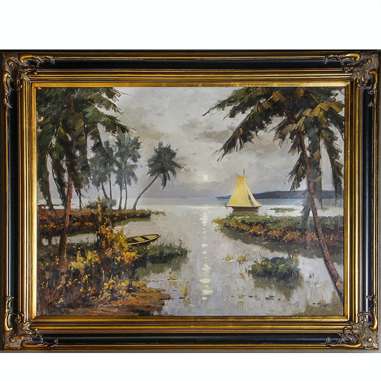 Oil Painting of Sailboat in Tropical Landscape