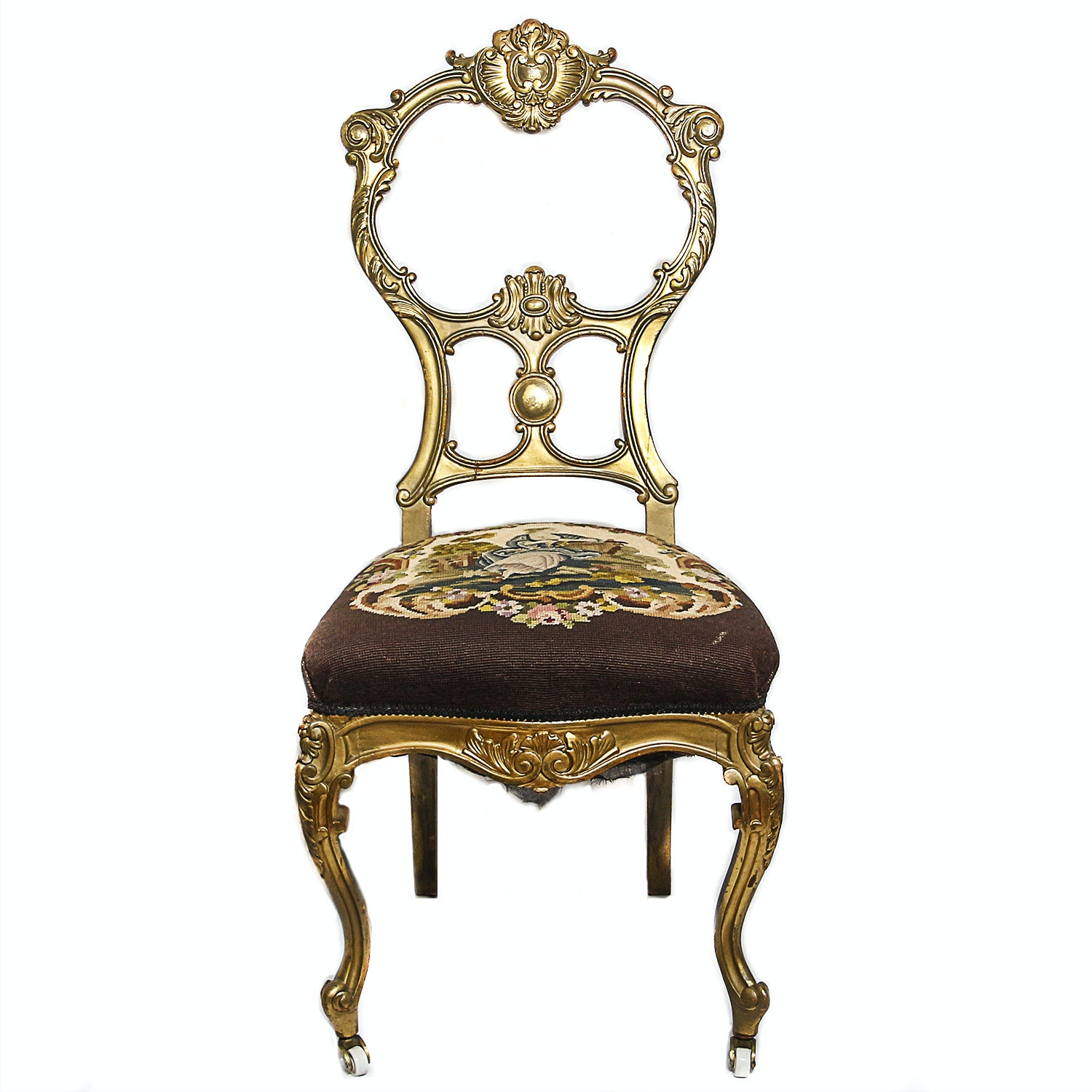 Vintage Louis XV Style Giltwood Side Chair with Needlepoint Seat