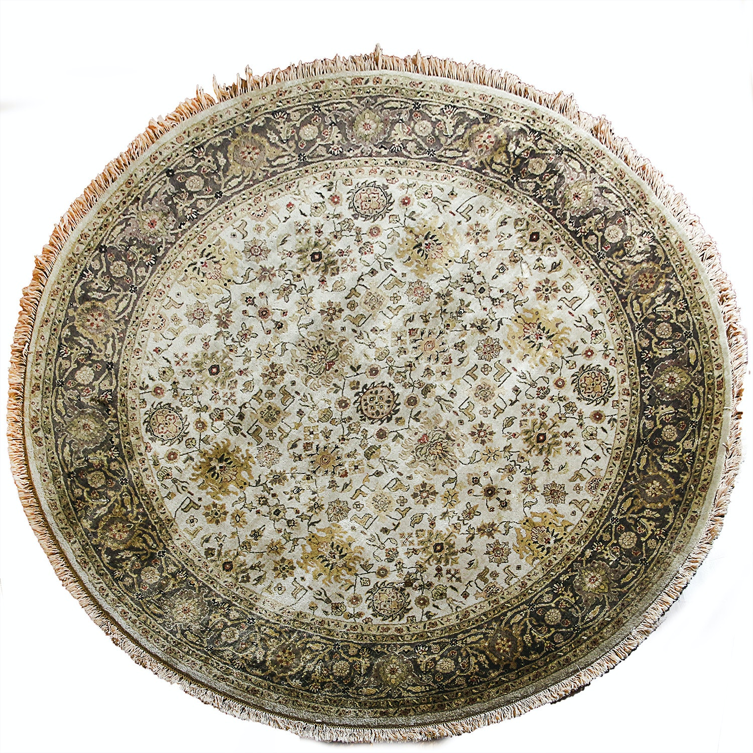 Hand-Knotted Indian Round Wool Area Rug