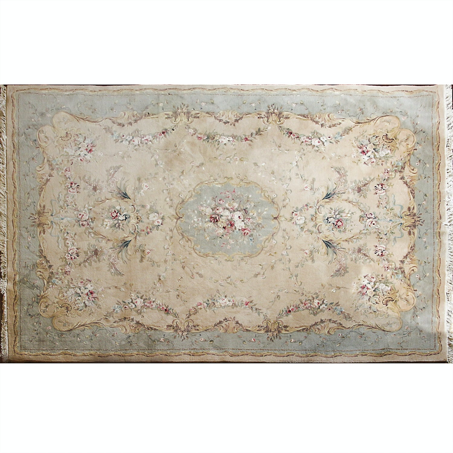 Hand-Knotted Chinese Aubusson-Style Wool Room Sized Rug