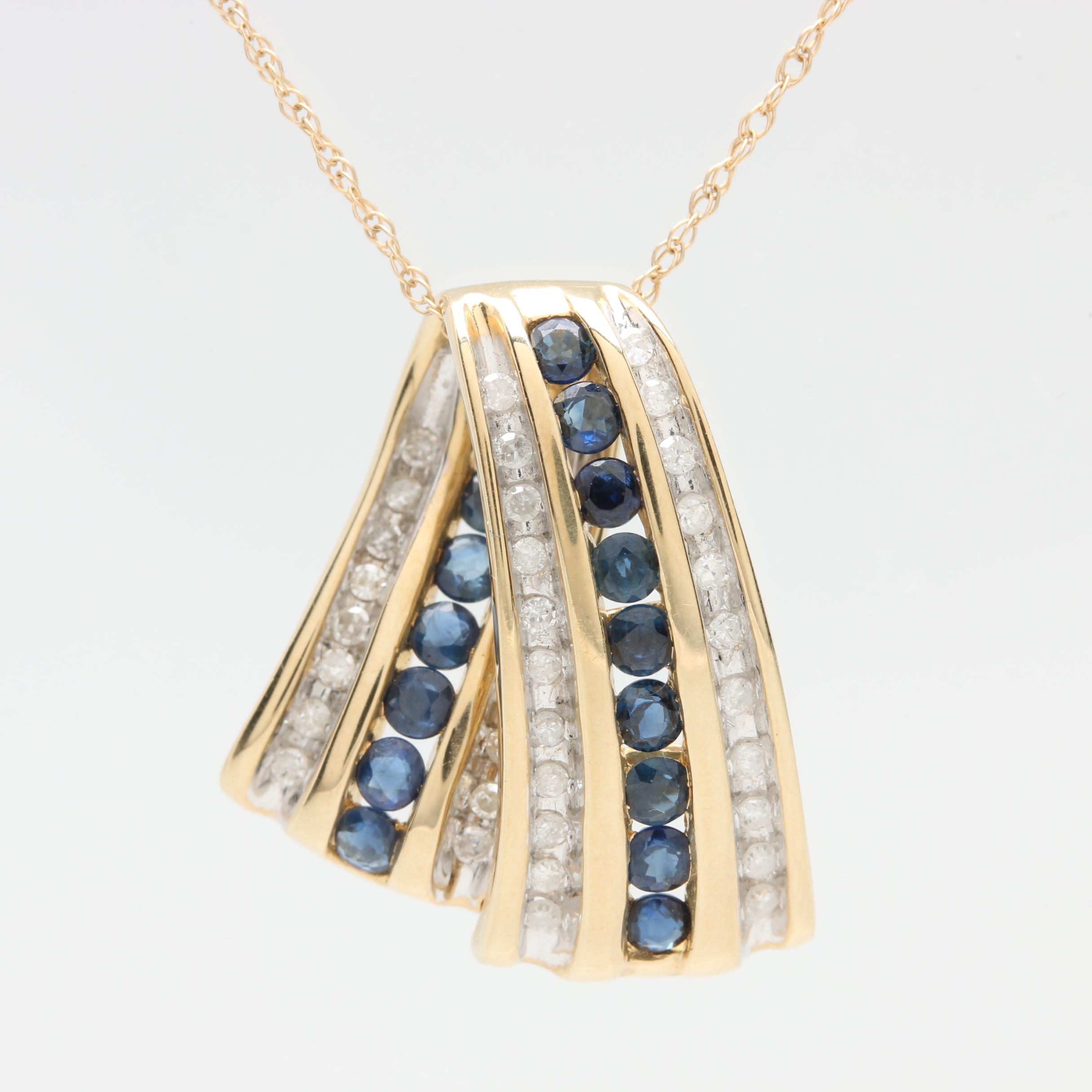 Alwand Vahan 10K Yellow Gold Blue Sapphire and Diamond Pendant Necklace