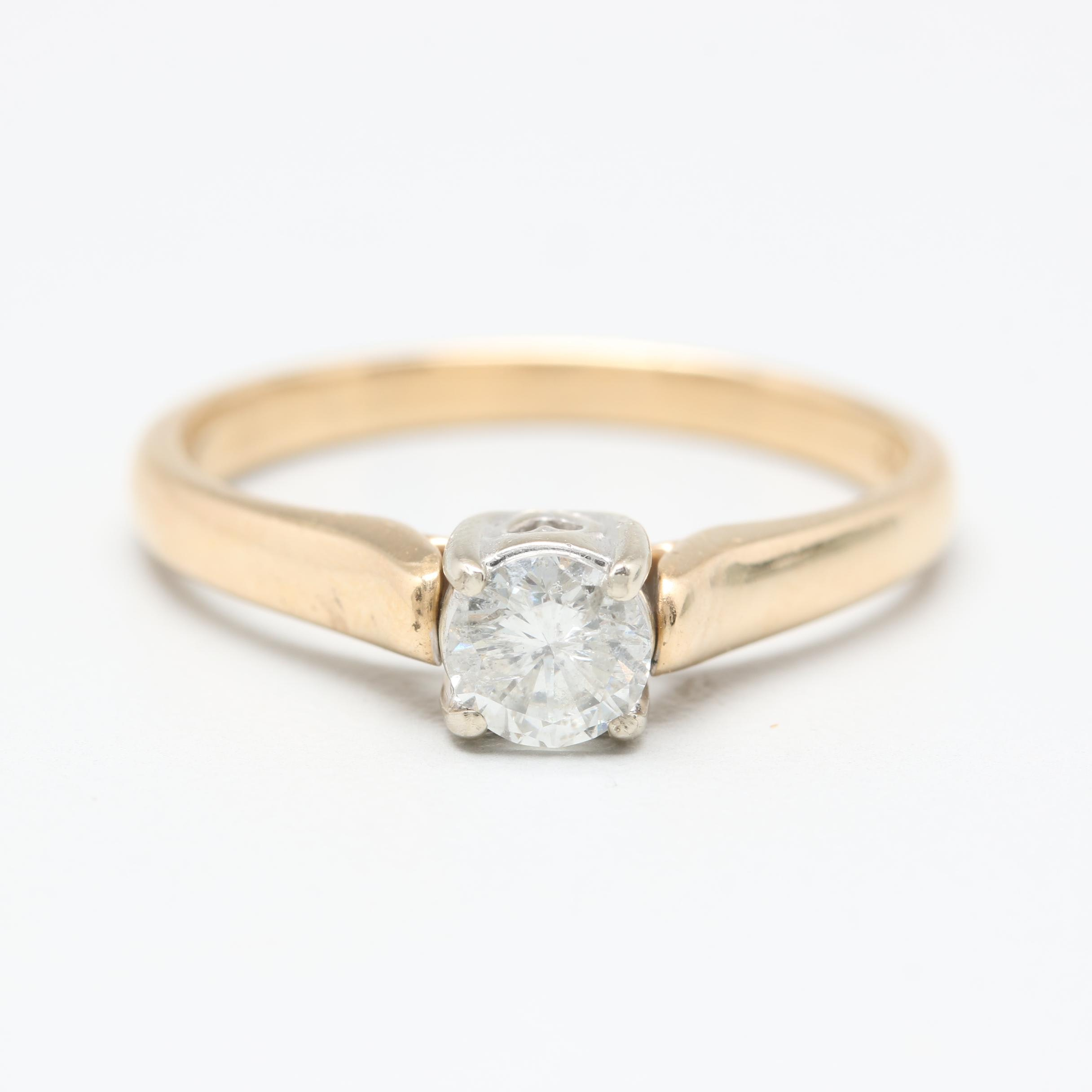 14K Yellow Gold Diamond Solitaire Ring with White Gold Accent