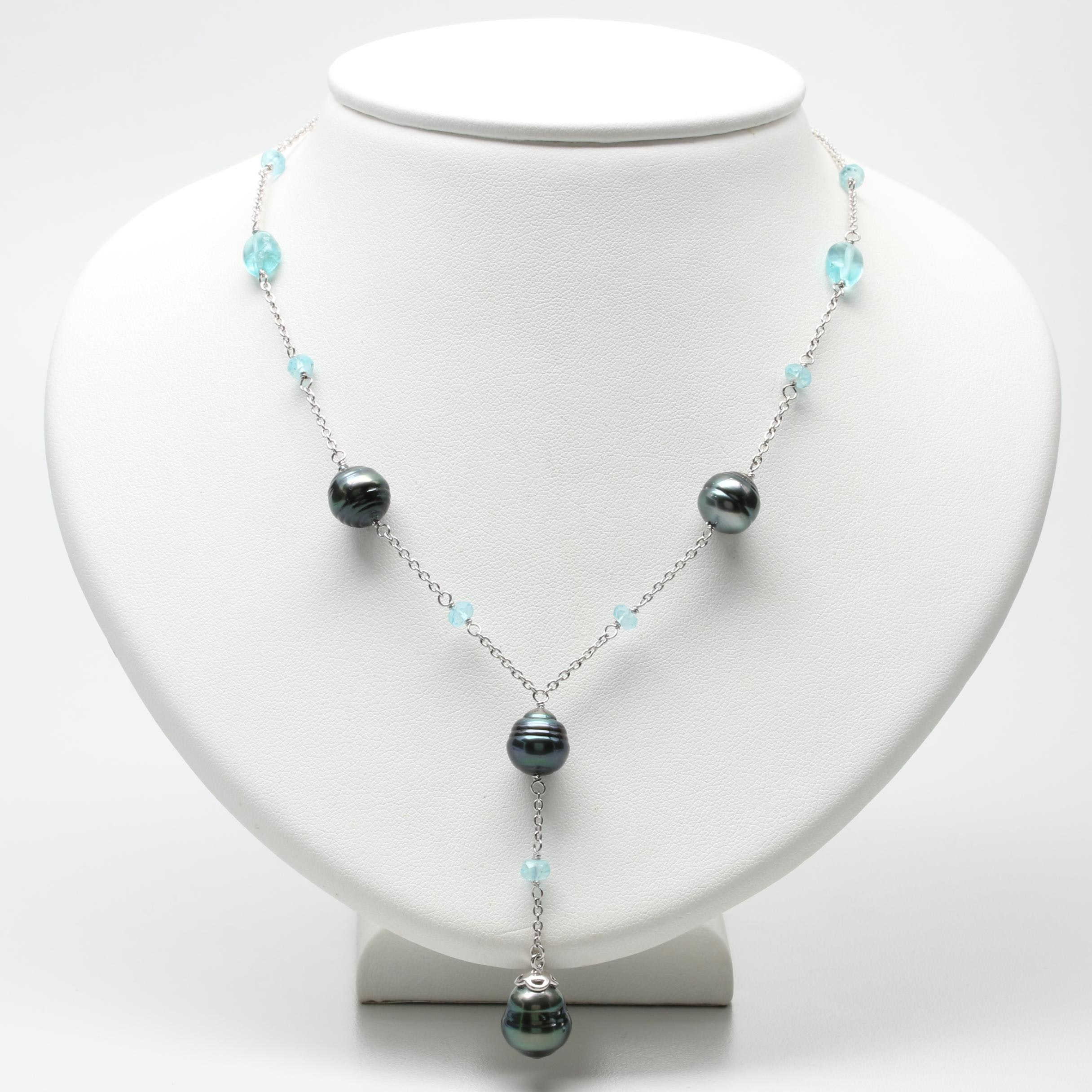 Sterling Silver Cultured Pearl and Calcite Drop Necklace