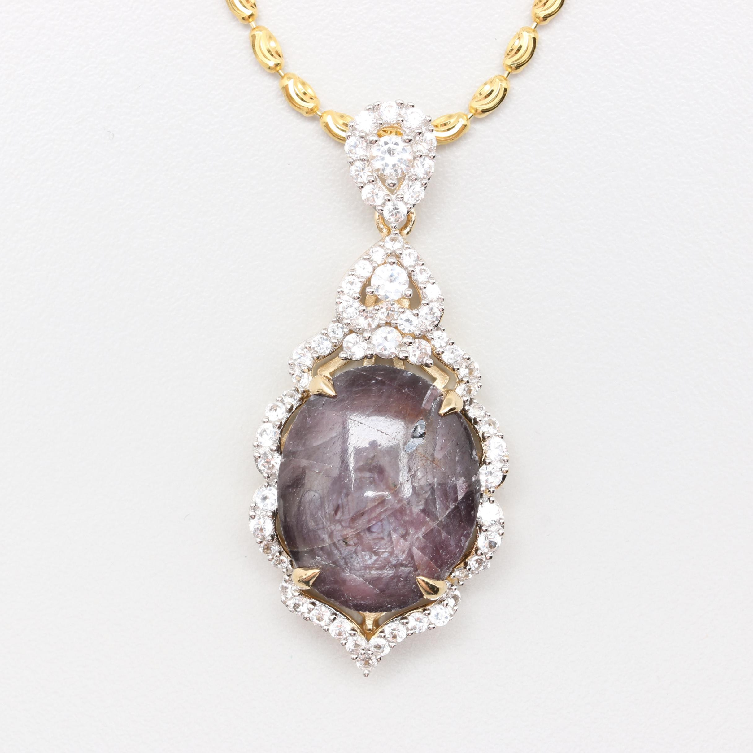 Gold Wash on Sterling Silver Purple Star Sapphire and White Sapphire Necklace