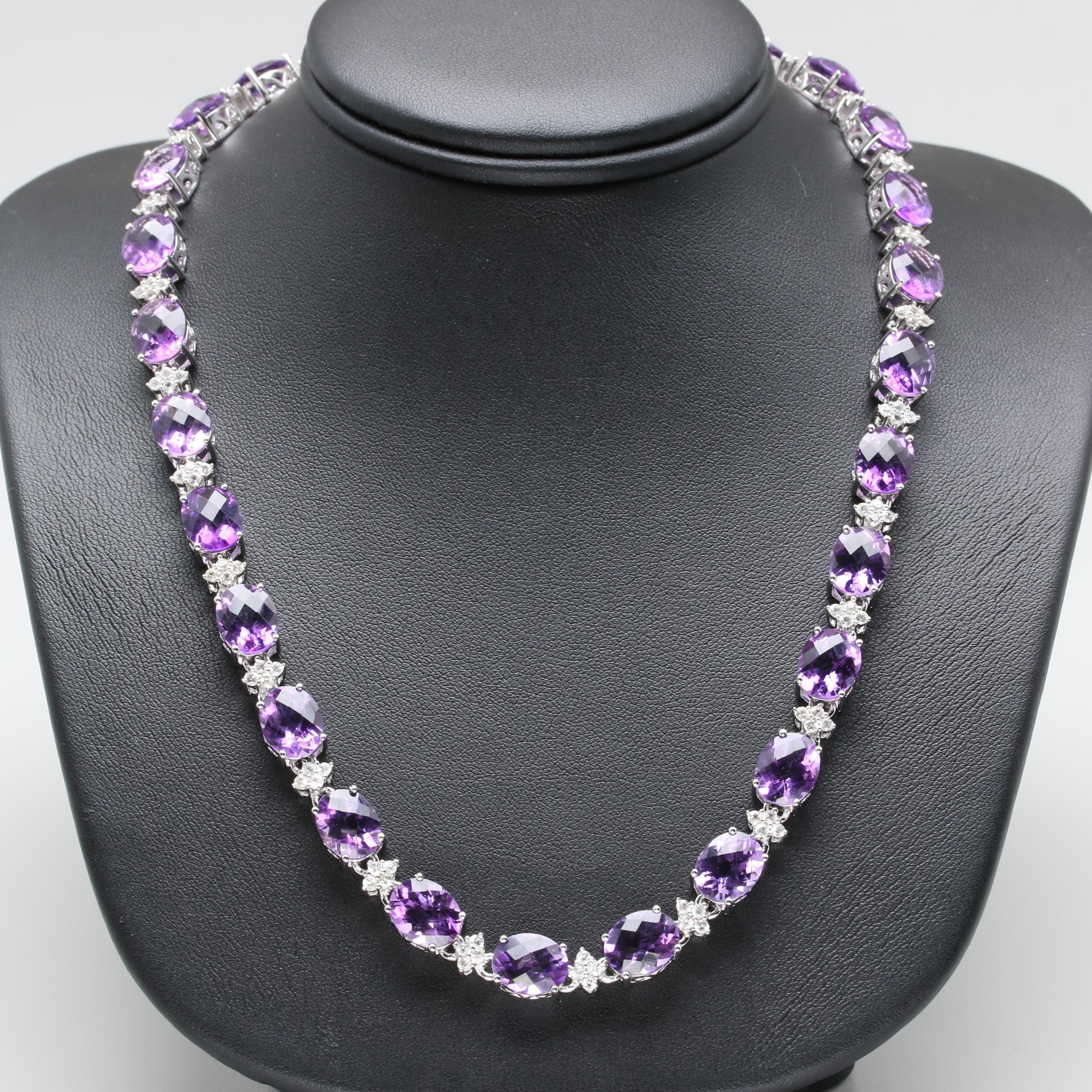 Sterling Silver Amethyst and White Sapphire Link Necklace