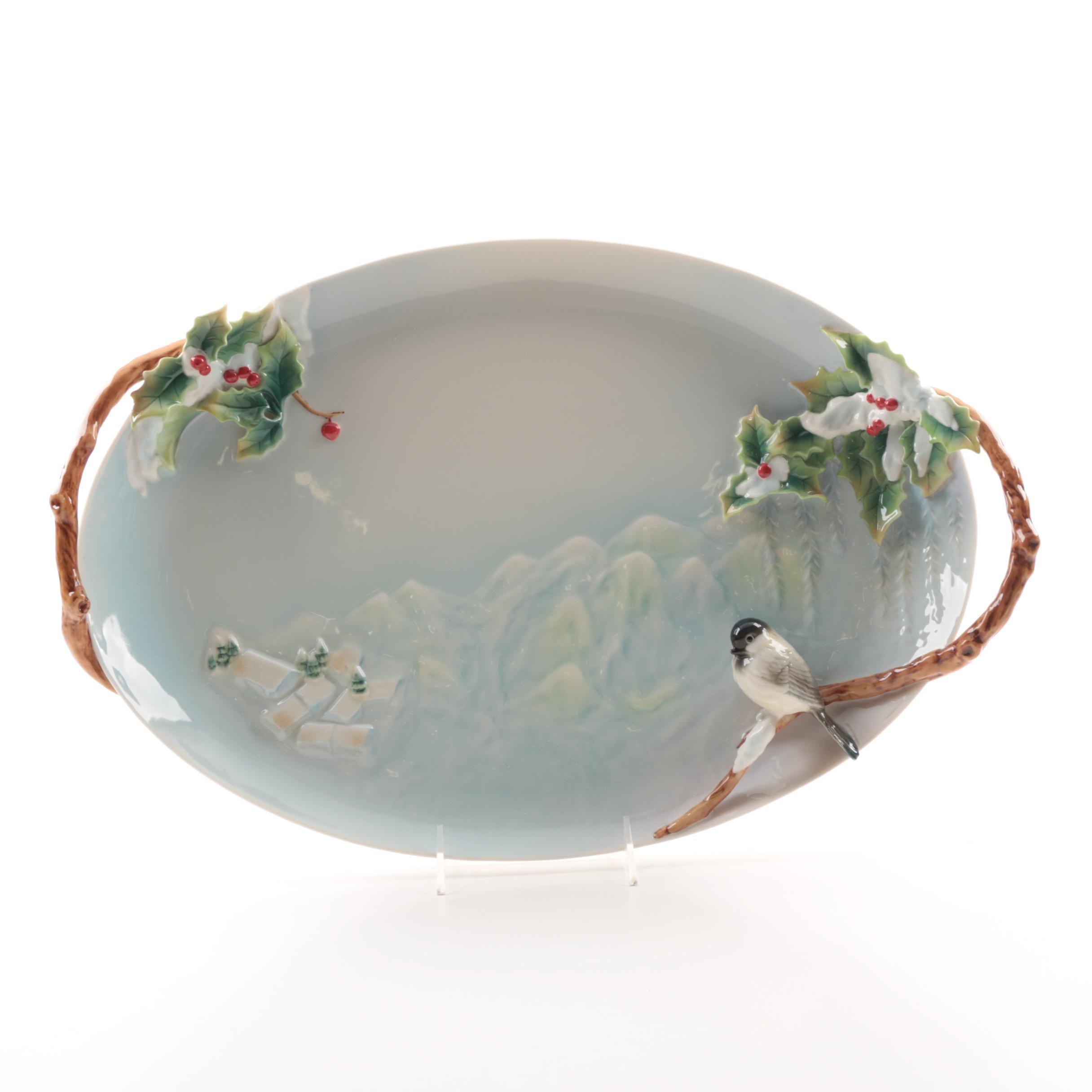 """Franz Porcelain """"Holiday Beginnings"""" Porcelain Platter"""
