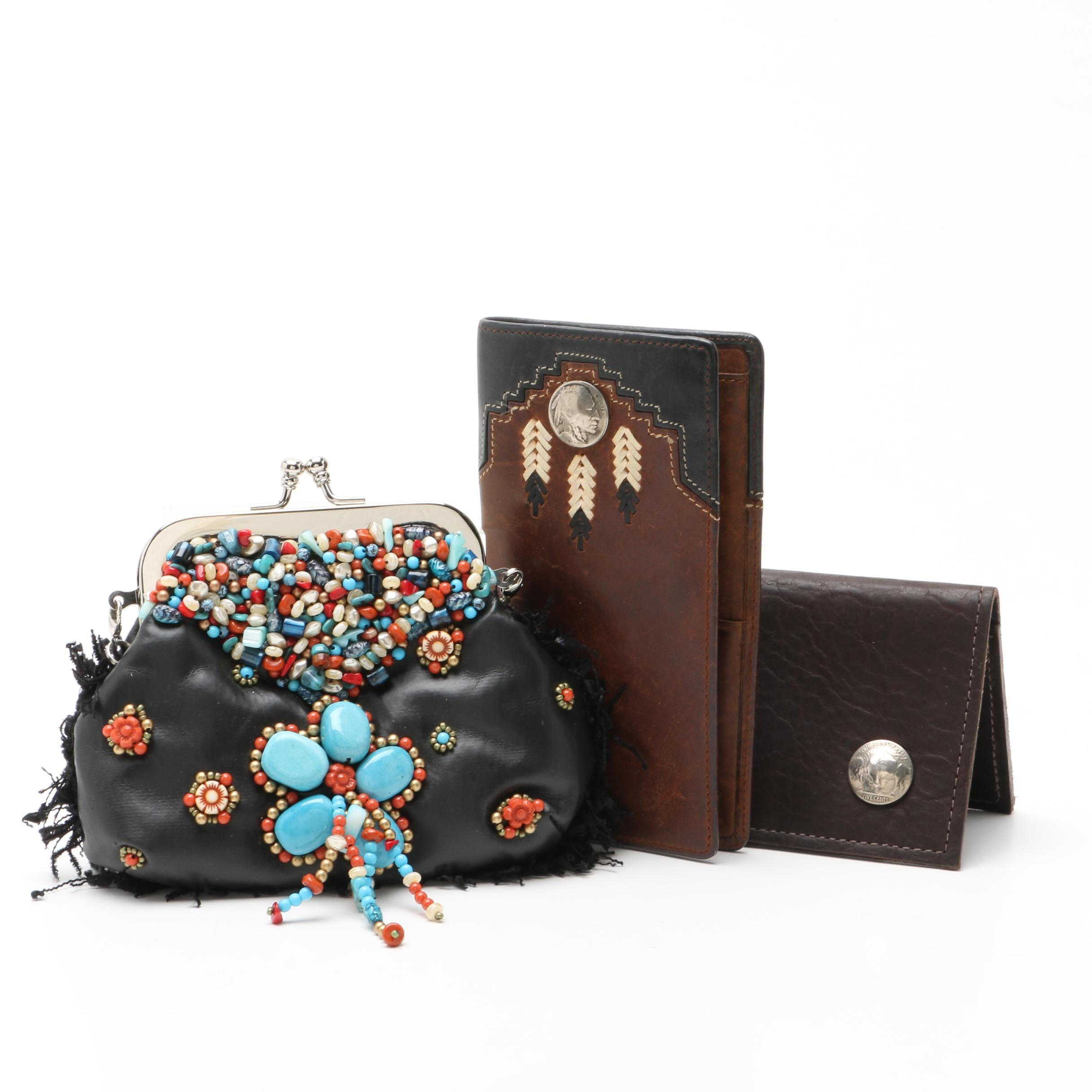 """Mary Frances of San Francisco """"Folklore"""" Mini Purse and Two Leather  Wallets"""