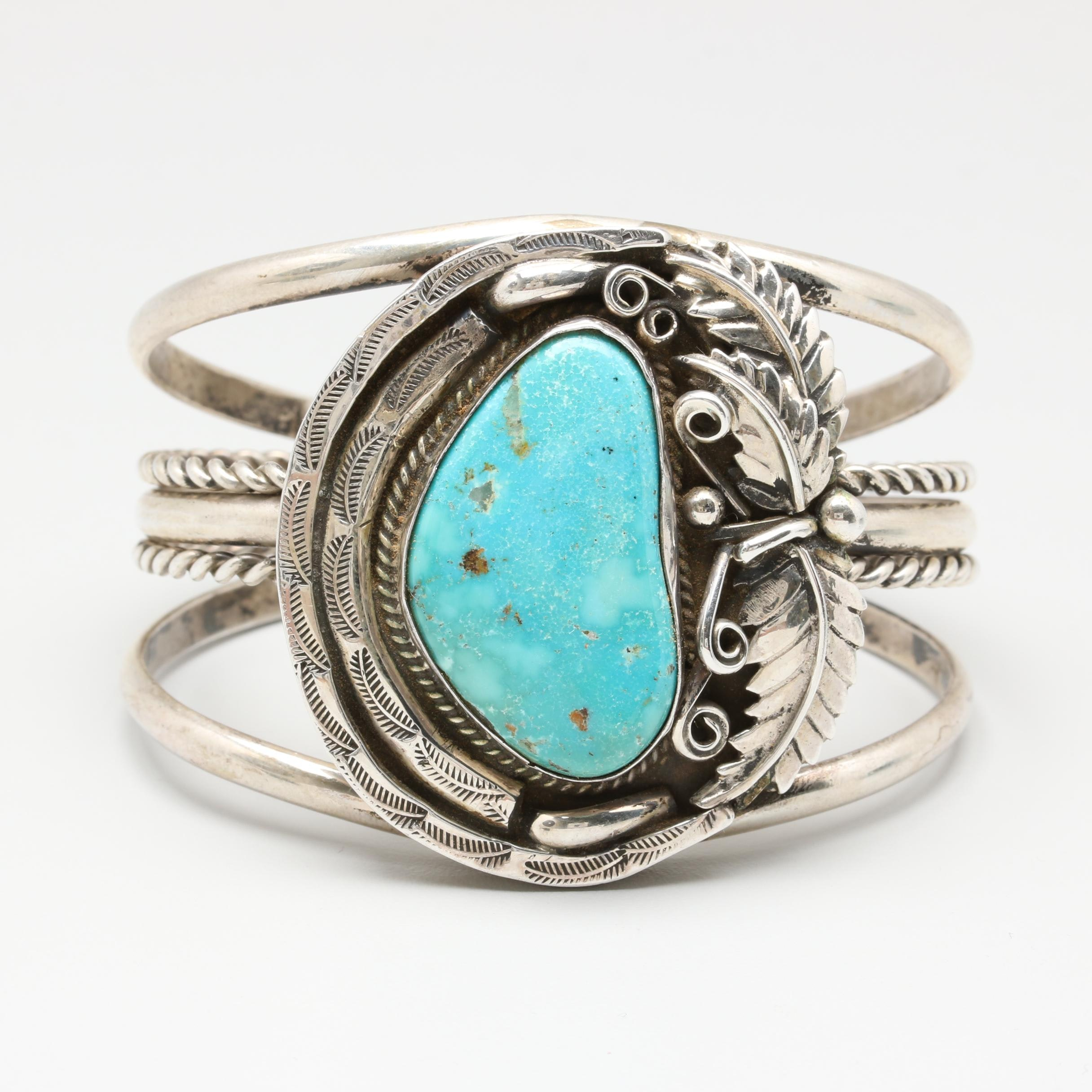 Freda Hansen Navajo Diné Stabilized Turquoise Cuff Bracelet