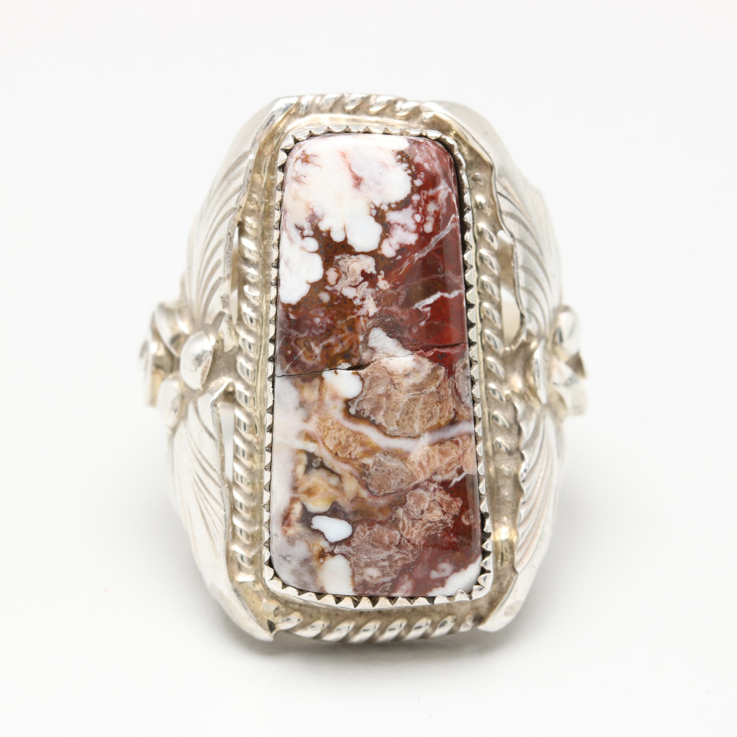 Silver Ray Navajo Diné Sterling Silver Agate Ring