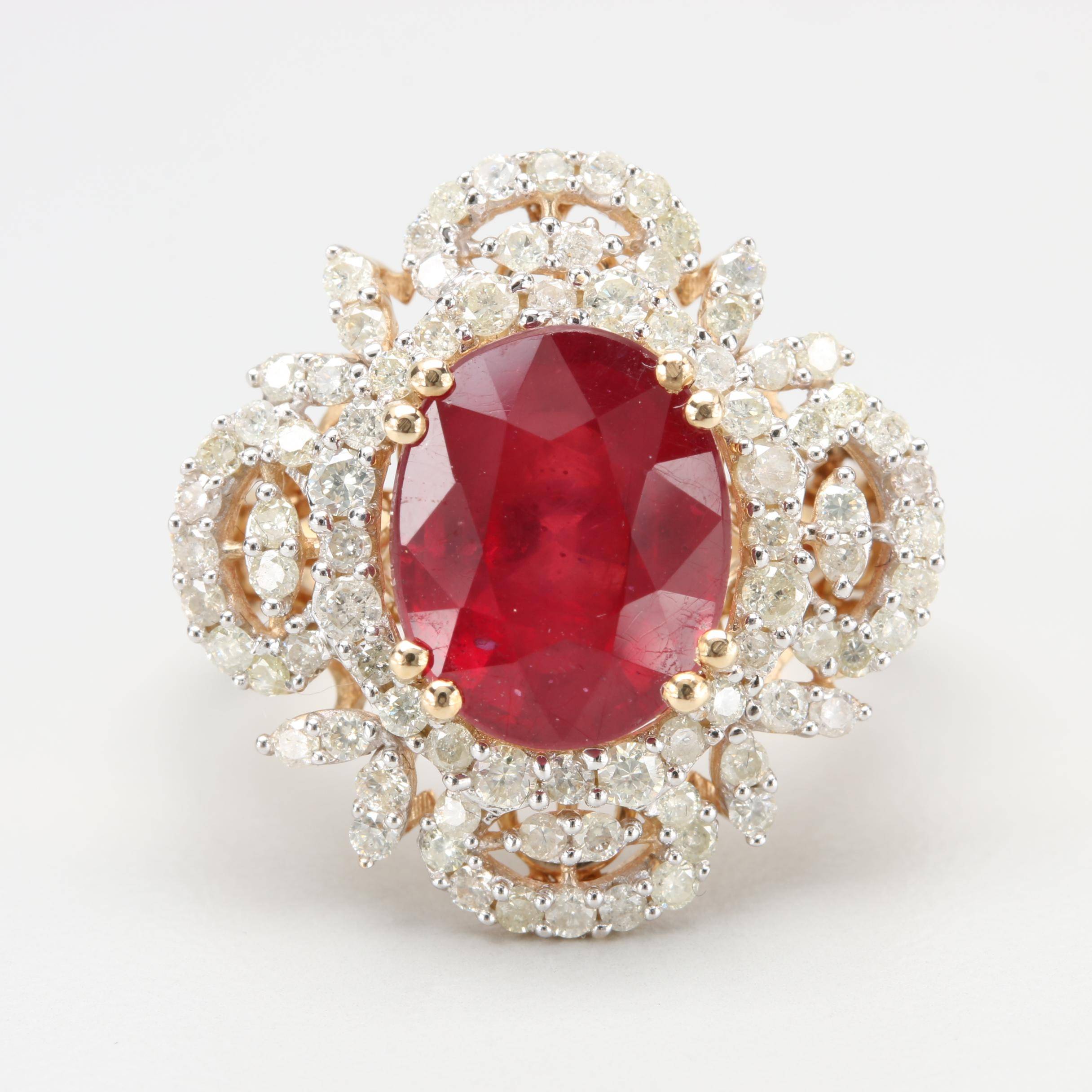 14K Yellow Gold Glass Filled Ruby and Diamond Ring