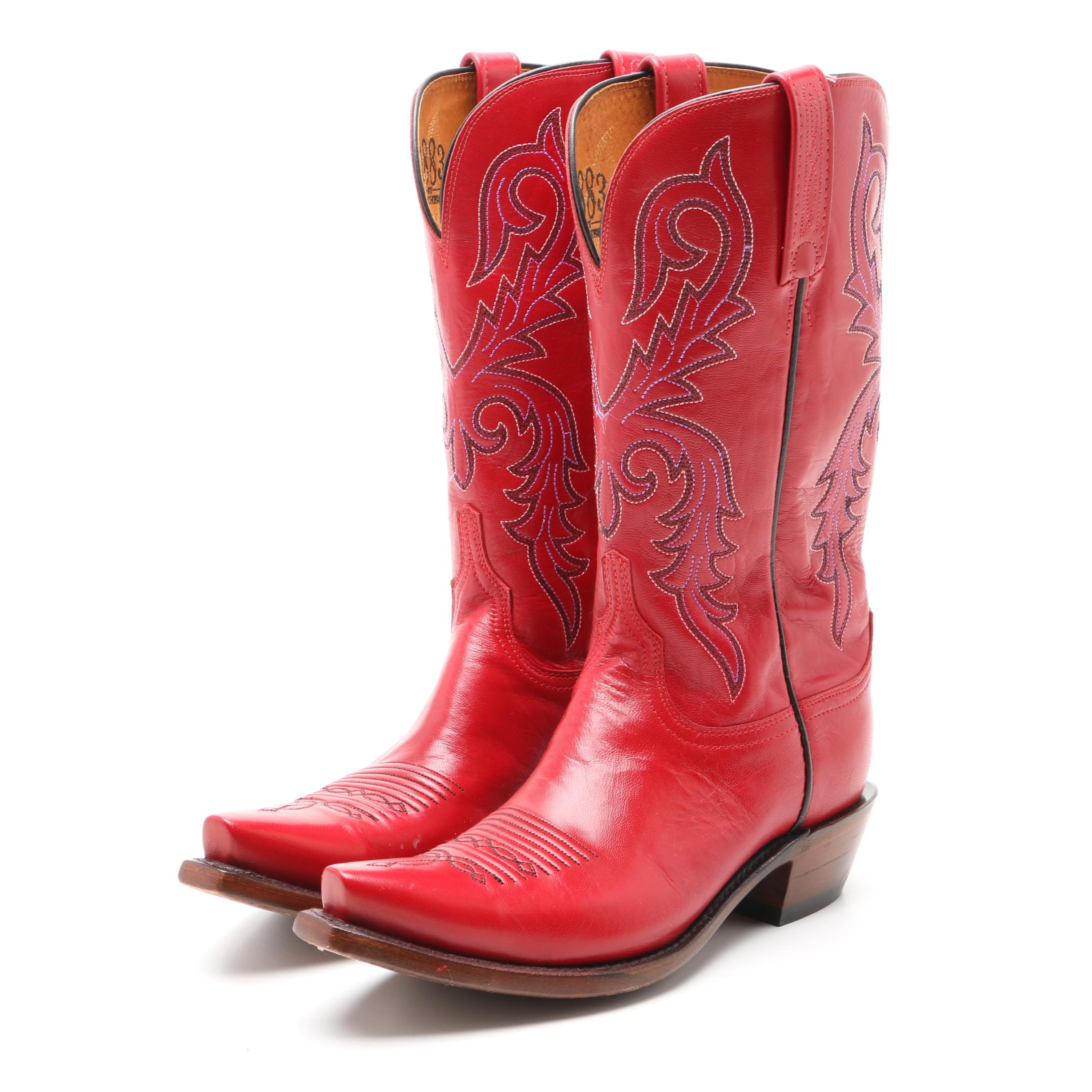 Pair of Women's Lucchese Red Leather Western Boots
