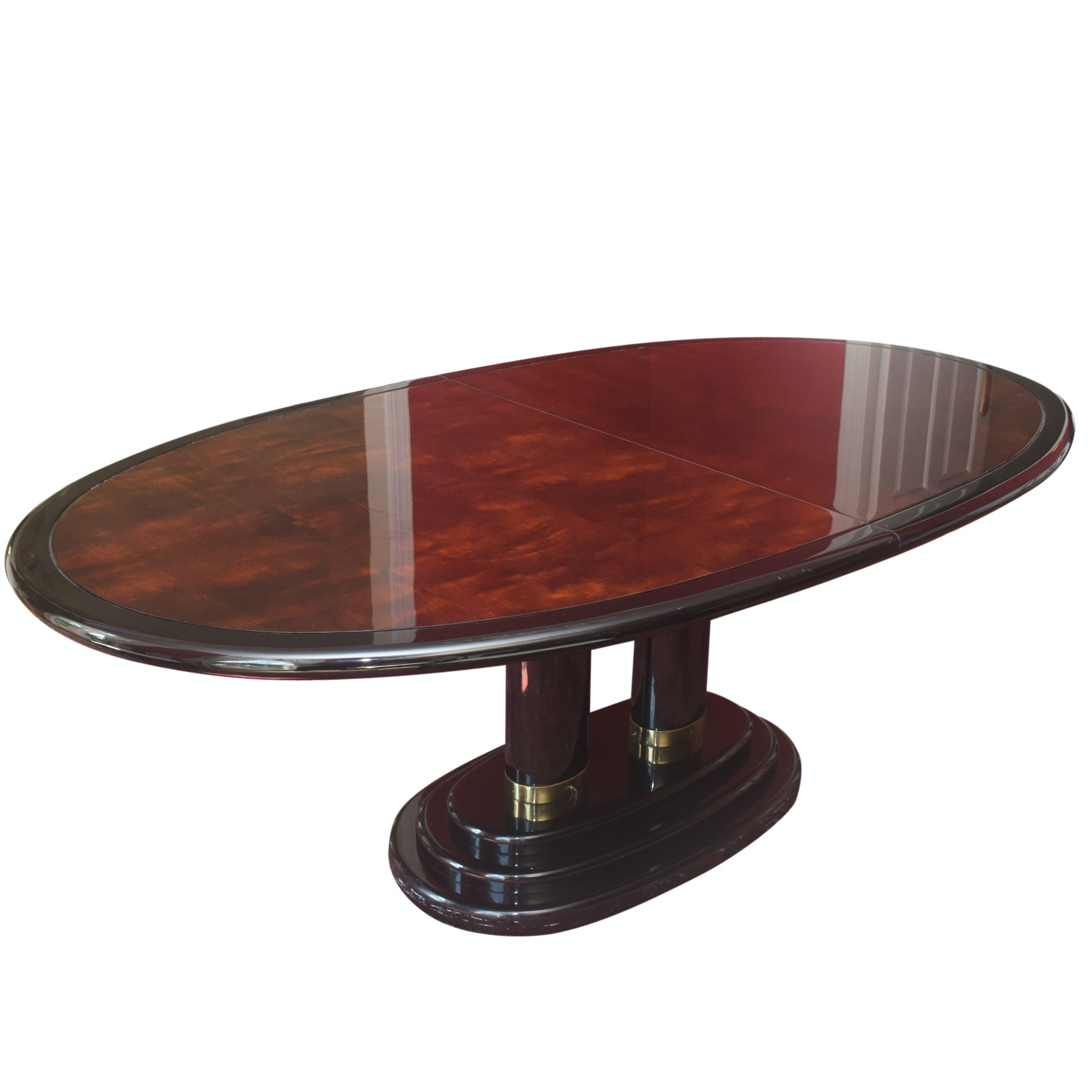 "Burled Walnut Henredon ""Scene Three"" Pedestal Dinning Table"
